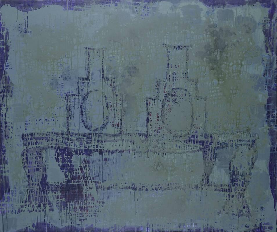 毛旭輝,《雙靠背椅·老祖宗》,壓克力彩、畫布,150×180cm,2014-2019。