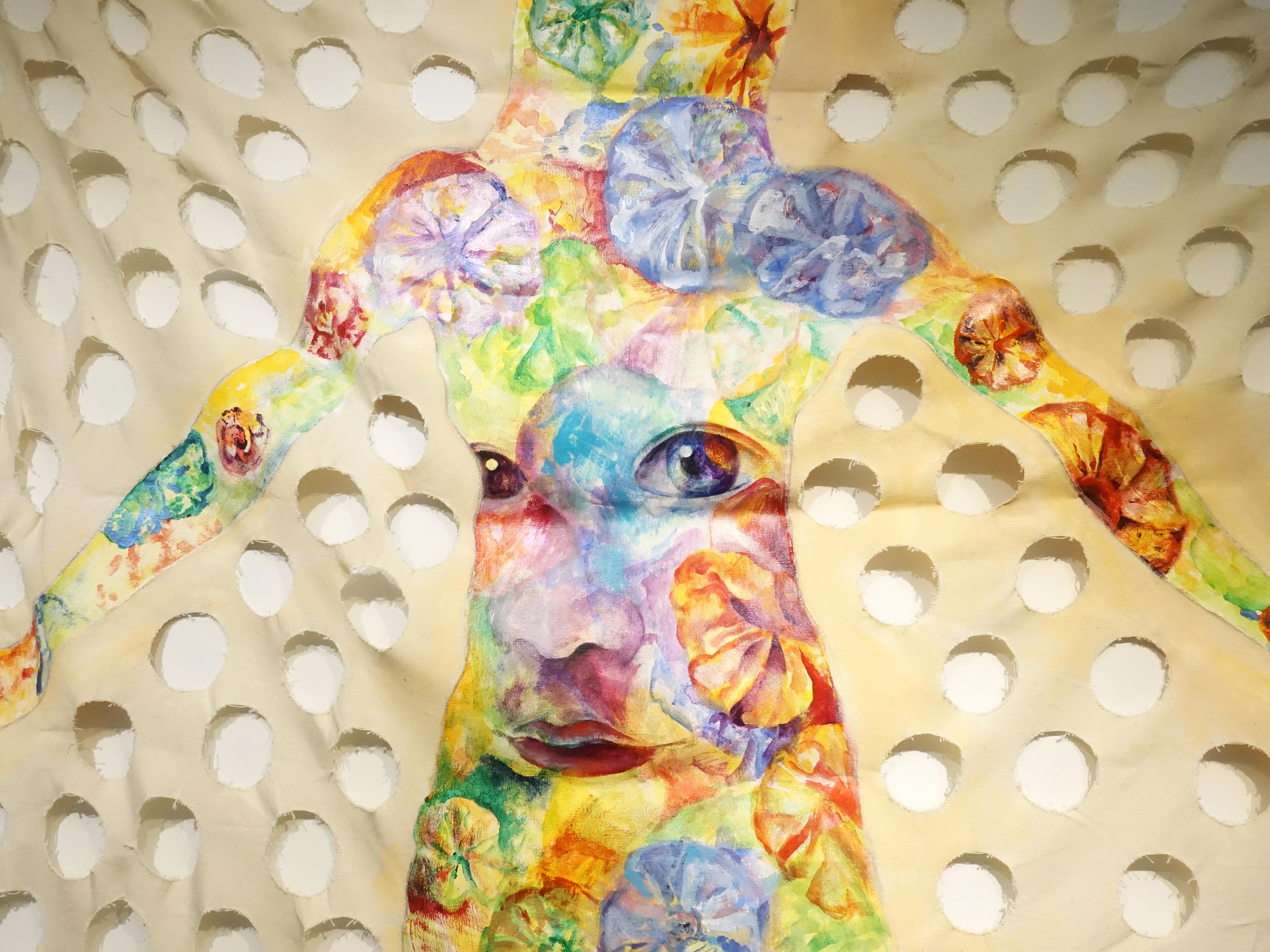 連師屏,《透,露》細節,複合媒材,160 x 160 cm,2016。
