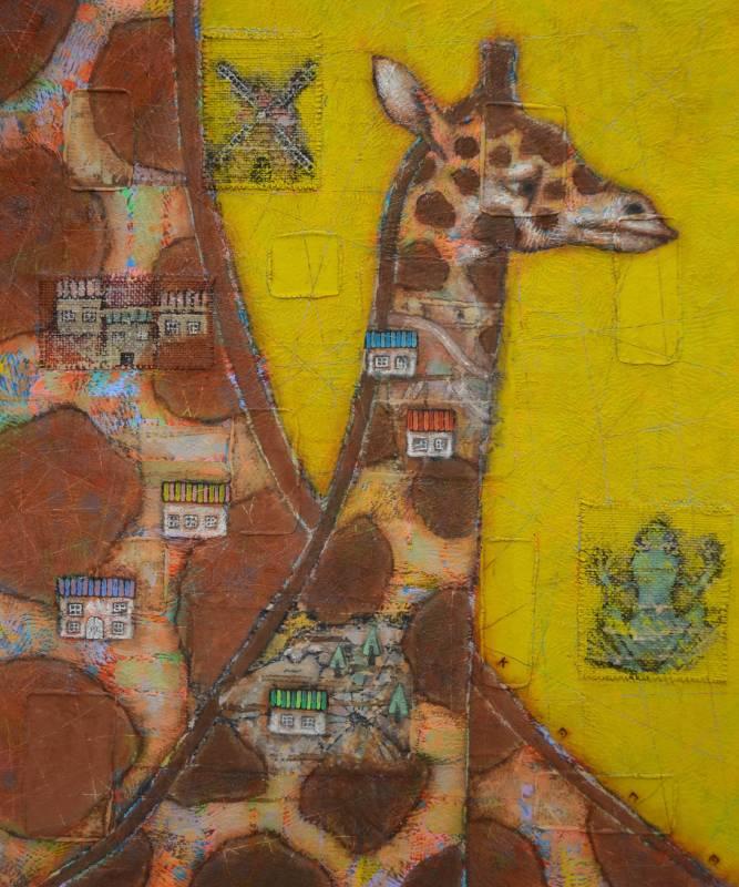 金丸悠兒|記憶町-長頸鹿|2019| 礦物顔料、麻布拼貼及壓克力於板上|72.7×60.6cm