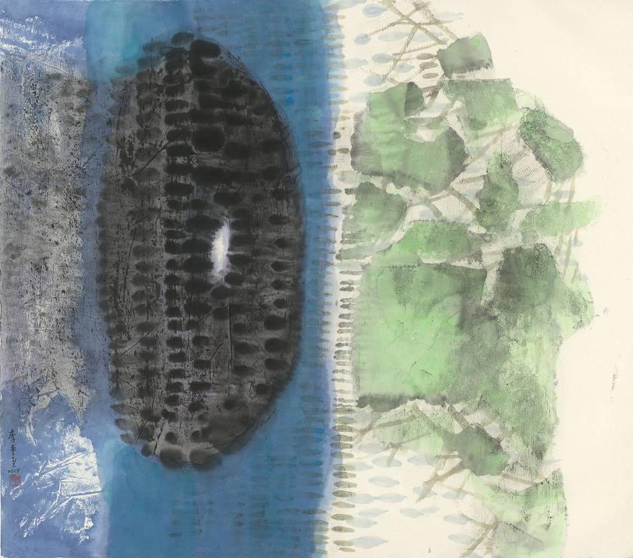 李重重 冷月浸雲 2017 水墨設色、紙本 96.8×108.5cm