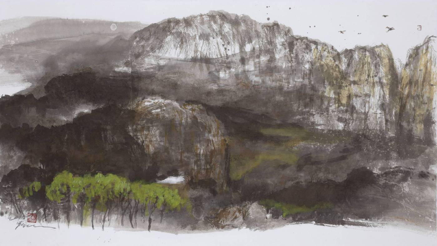 塵三/ 堅岳Rigid Mountain 79x141 cm‧2018 水墨、複合媒材 Ink、Mixed melinda on paper