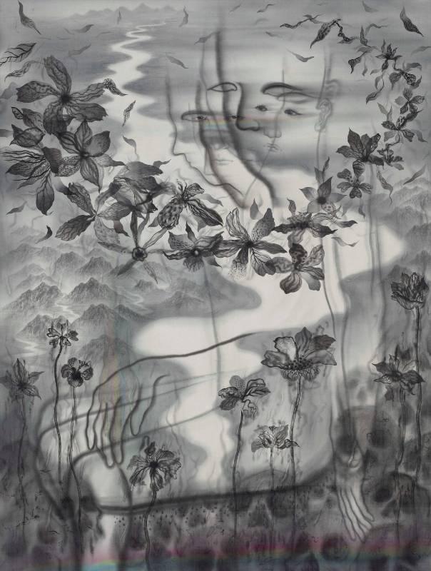 劉信義/也許我們都遙望著絕望與希望  Maybe We All Look at Despair and Hope  134x100 cm‧2017 水墨絹本設色  Colored ink on silk