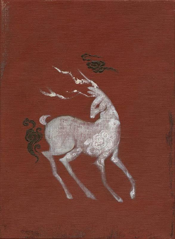 奔鹿 Galloping Deer, 曾亞琪 TSENG Ya-Chi, 2019, acrylic on canvas 壓克力彩、畫布, 33 x 24 cm
