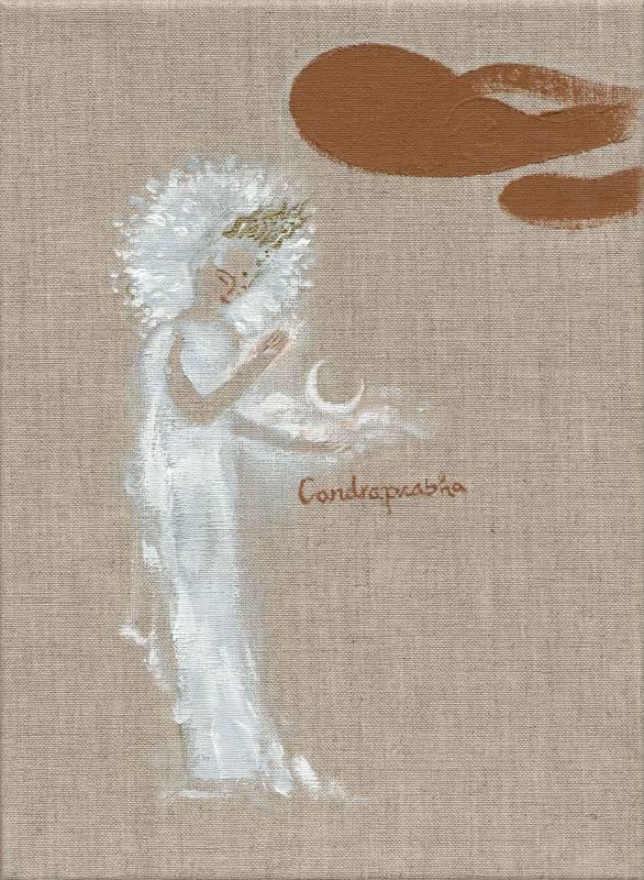 月光菩薩 Candraprabha (Bodhisatta of the Moon), 曾亞琪 TSENG Ya-Chi, 2019, acrylic on canvas 壓克力彩、畫布, 33 x 24 cm