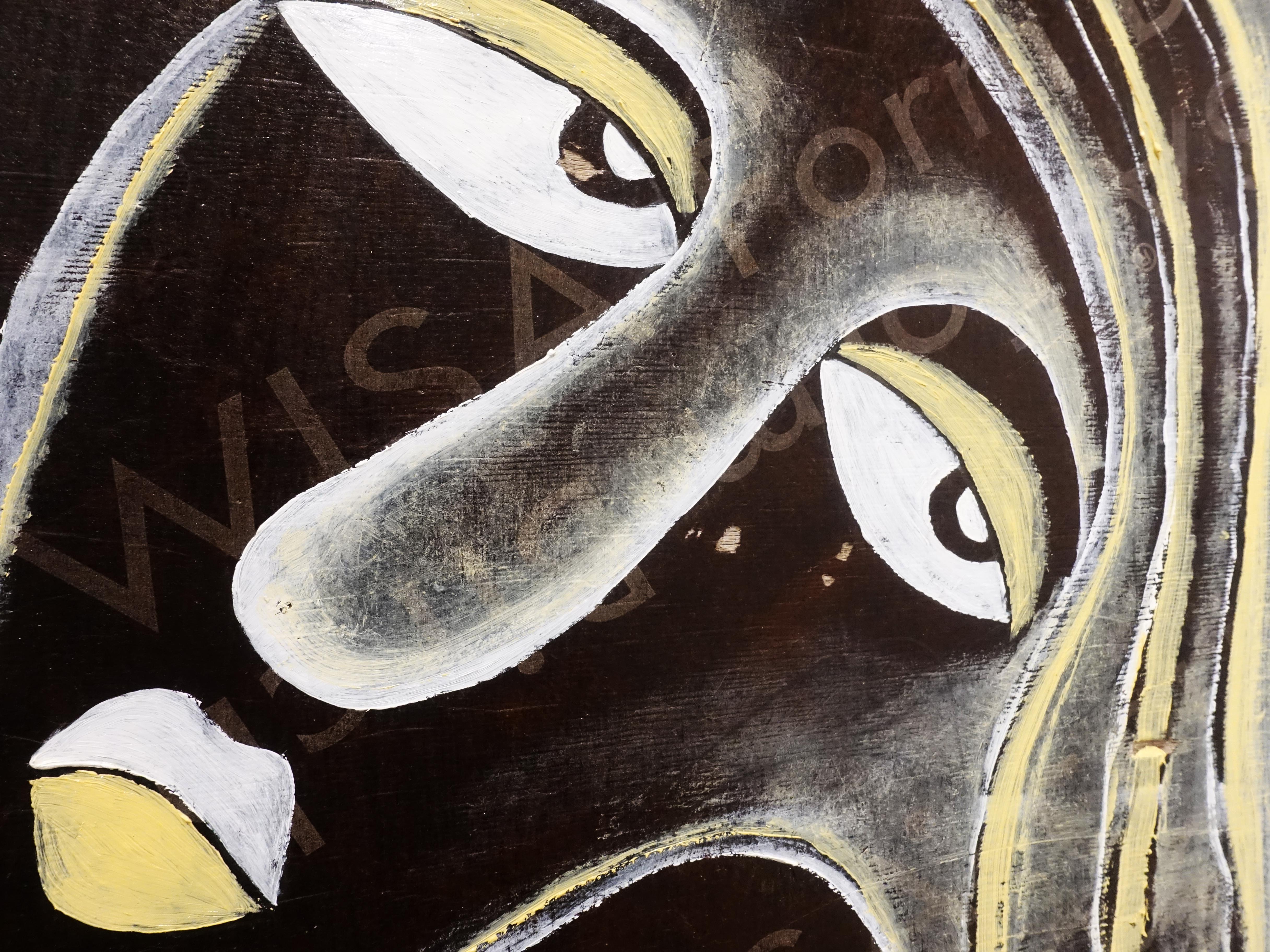 楊樹森,《喬莉》細節,37x 53 x 2 cm,漂木油彩,2019。