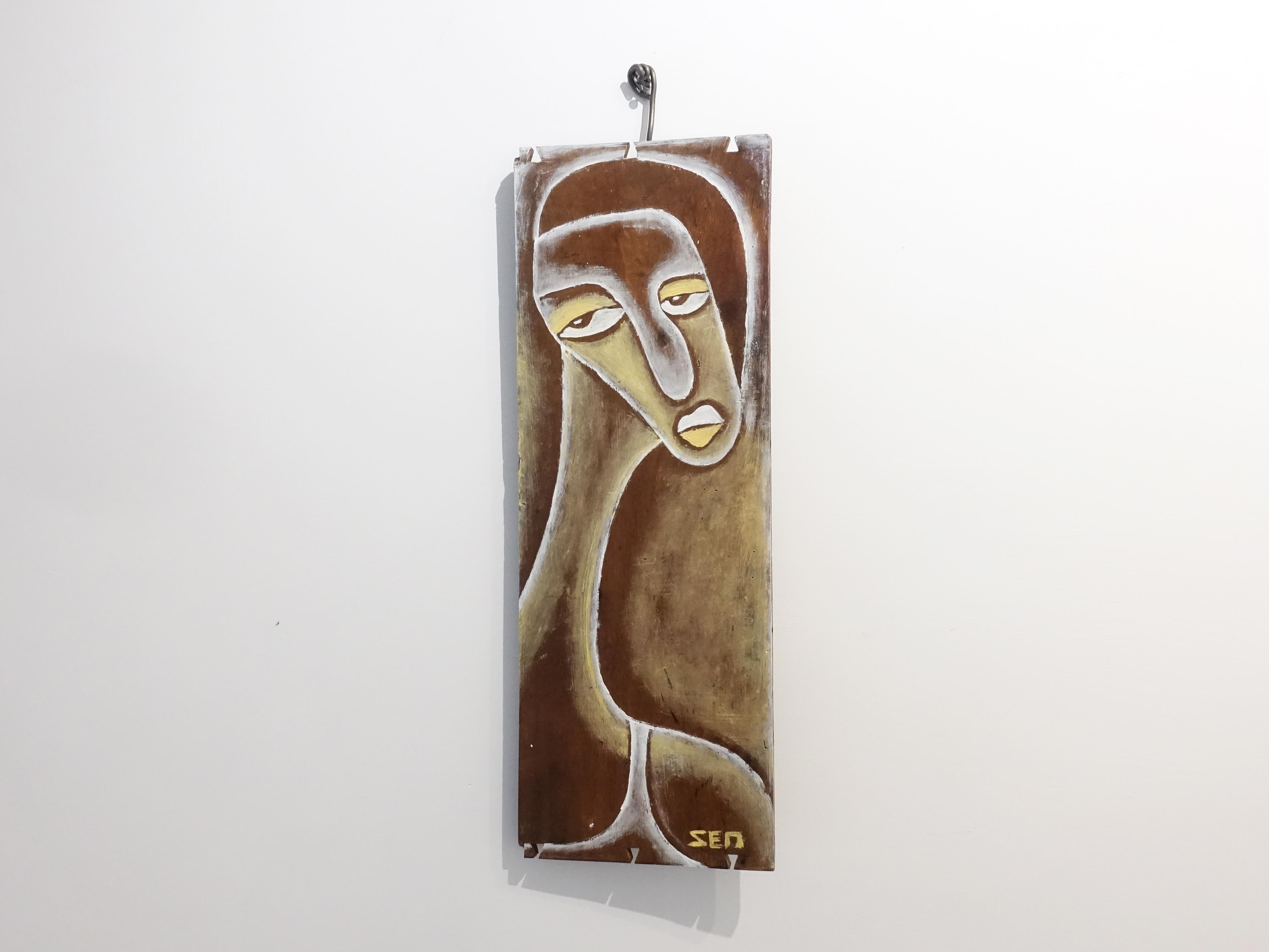 楊樹森,《茱蒂》,62 x 22 x 1 cm,漂木油彩,2019。