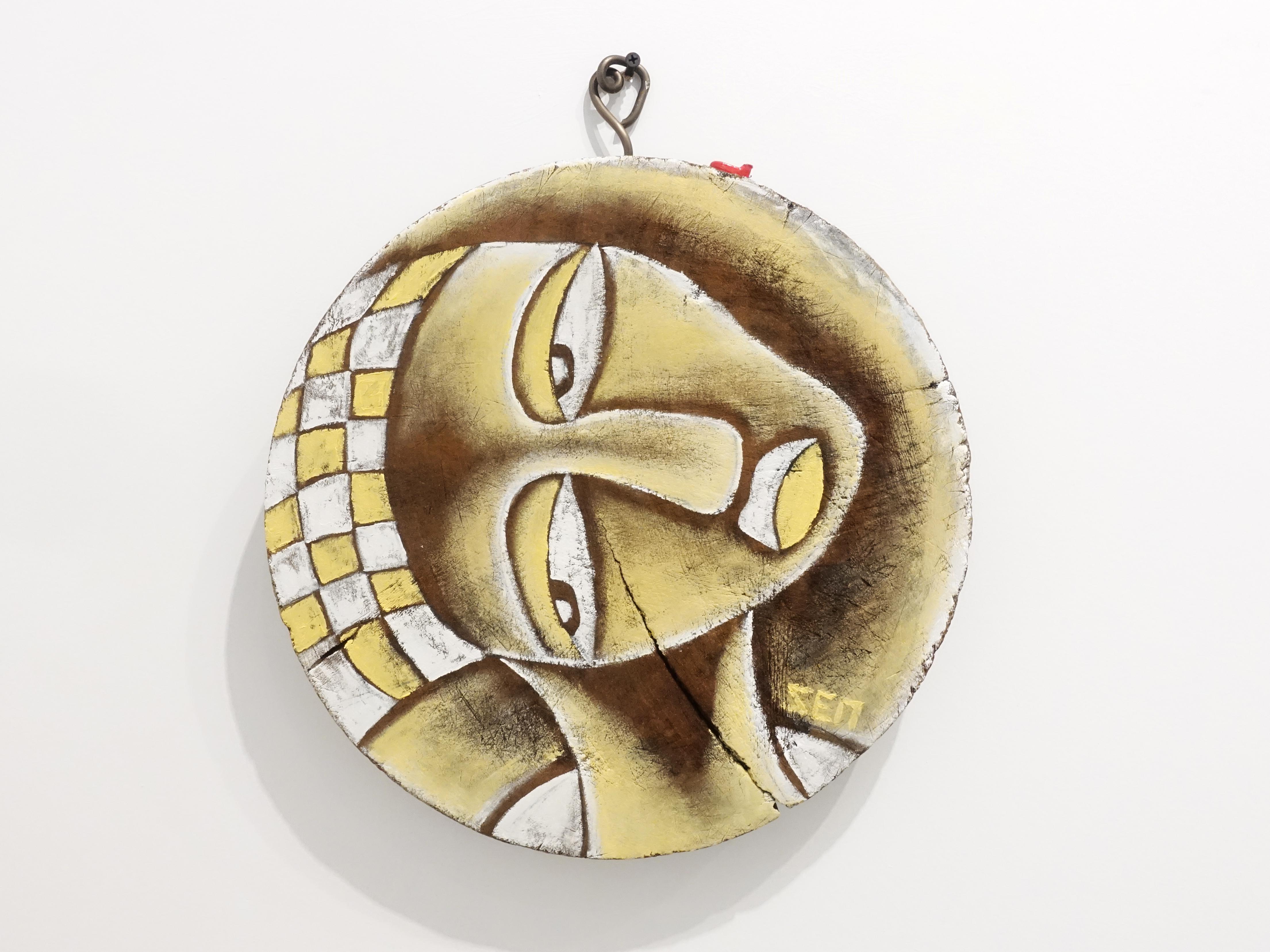 楊樹森,《朱麗葉》,35 x 35 x 4 cm ,漂木油彩,2019。