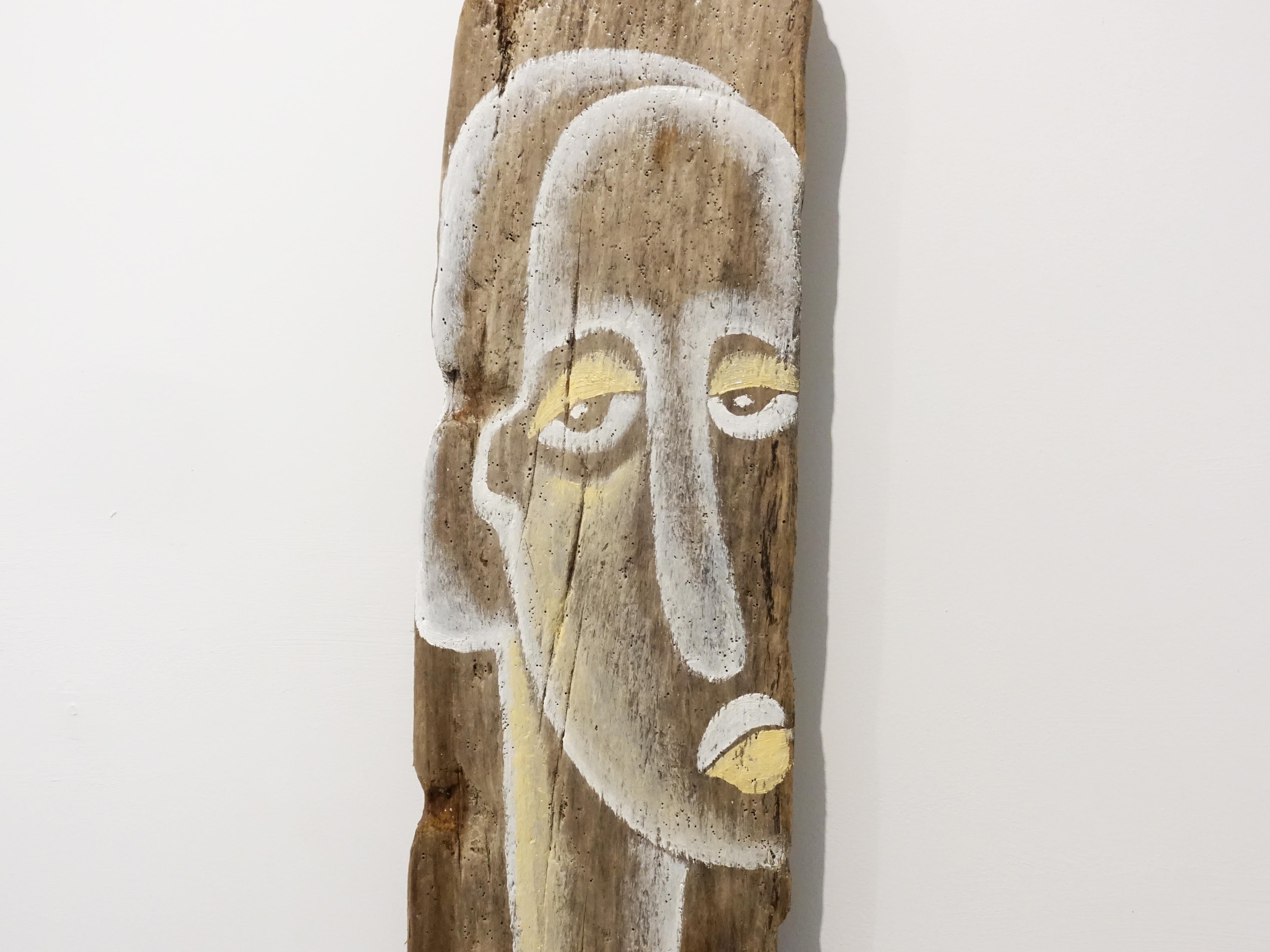 楊樹森,《喬》細節,110 x 20.3 cm,漂木油彩,2019。