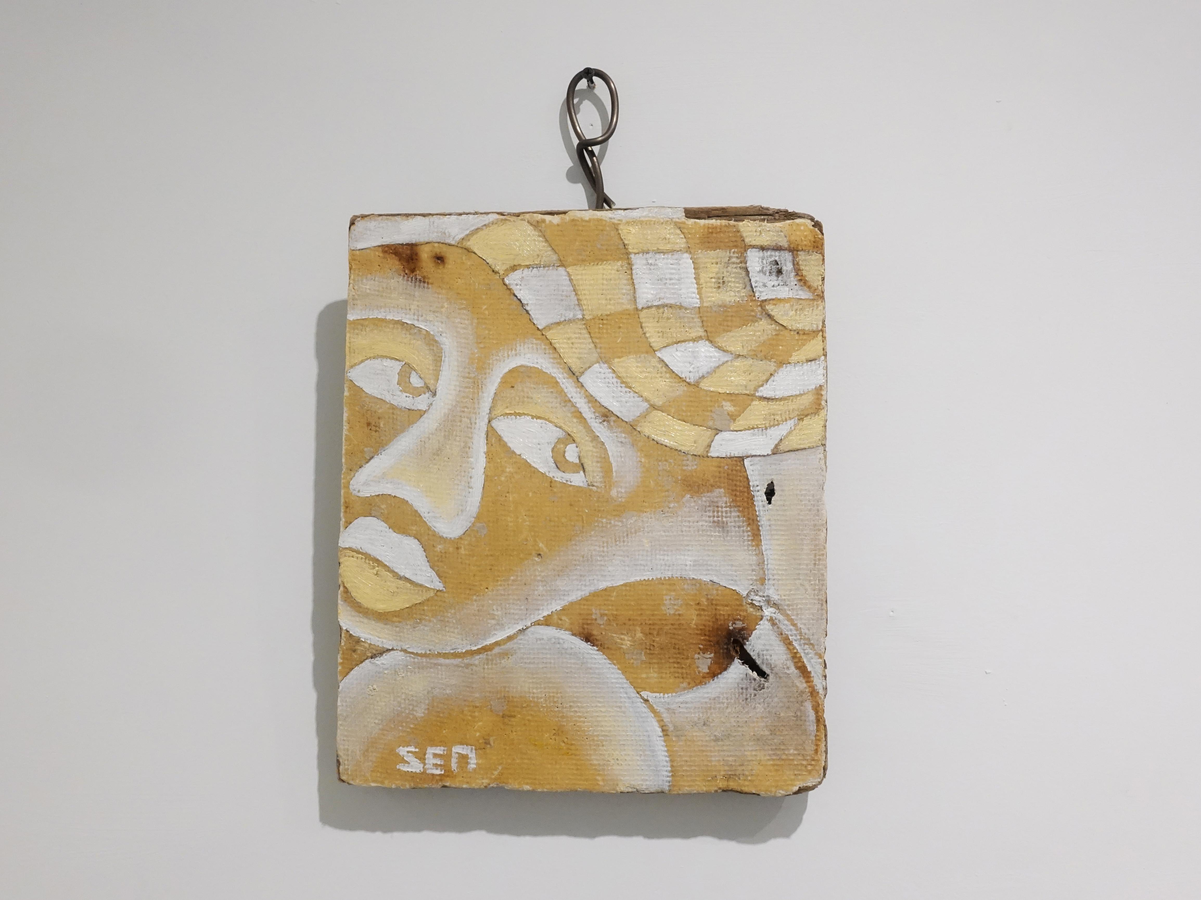 楊樹森,《飄》,36 x 29 x 3 cm,漂木油彩,2019。