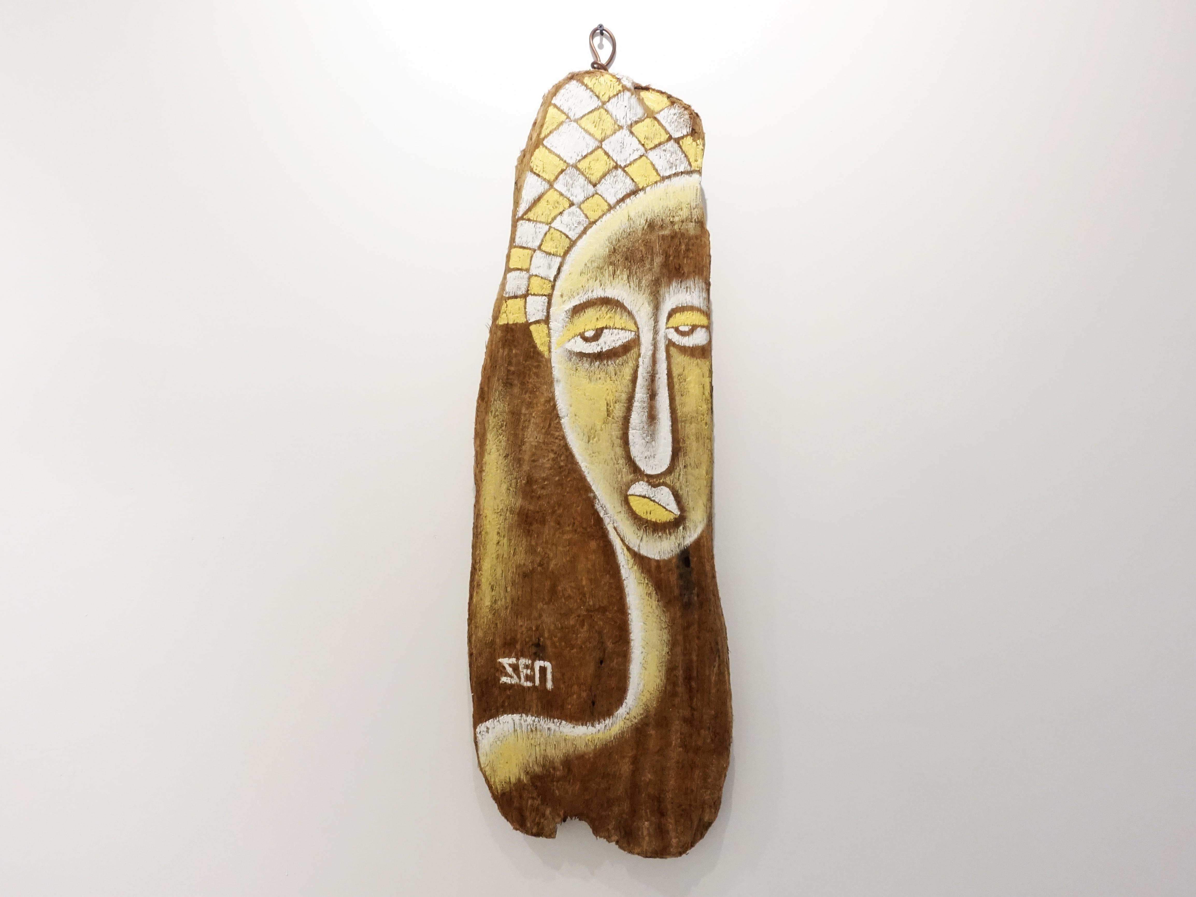 楊樹森,《姬兒》,92 x 34 cm x4,漂木油彩,2019。