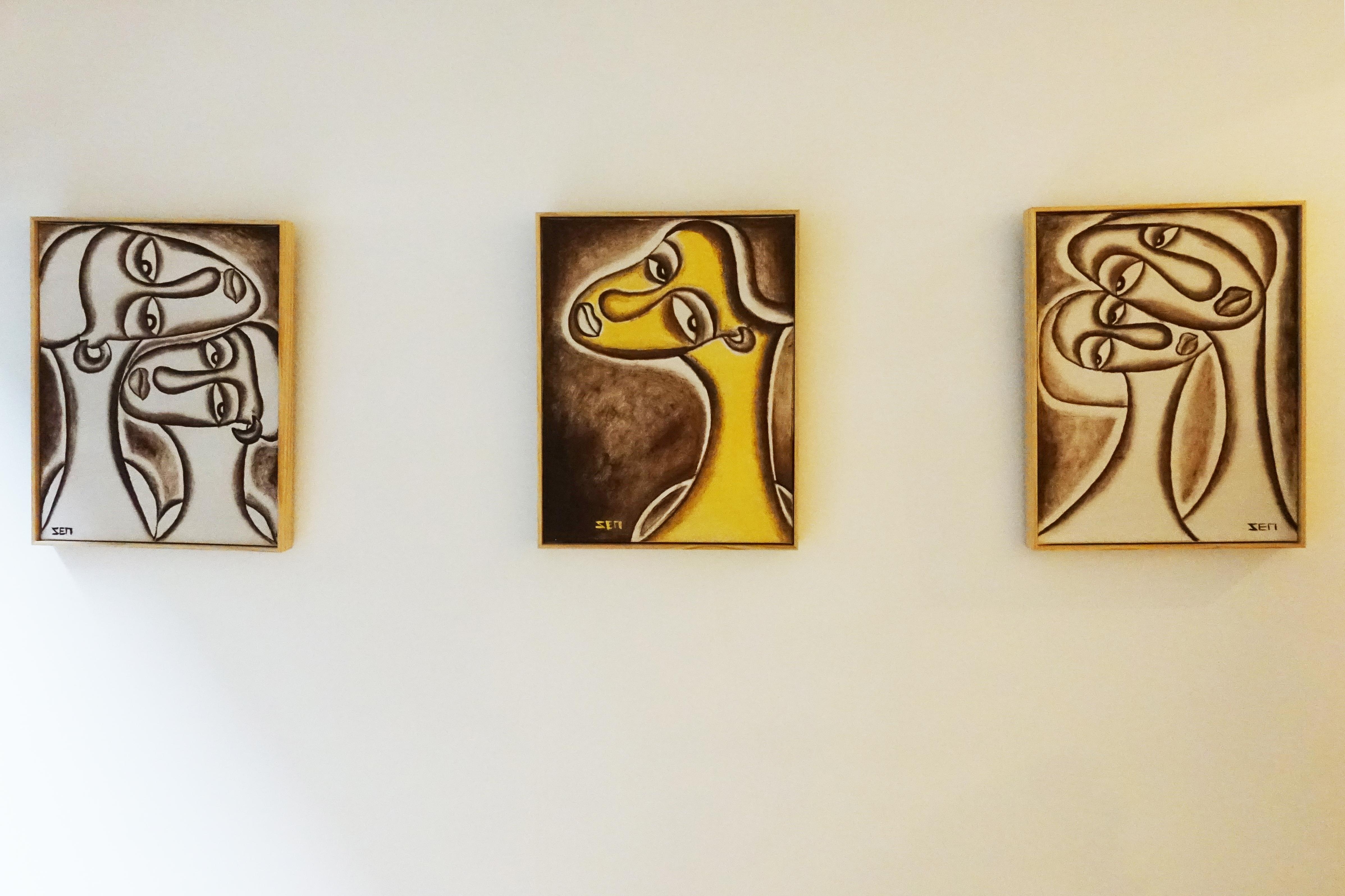 藝術家楊樹森油彩系列作品《普羅旺斯》左、《愛莉絲》中、《綺麗》右。