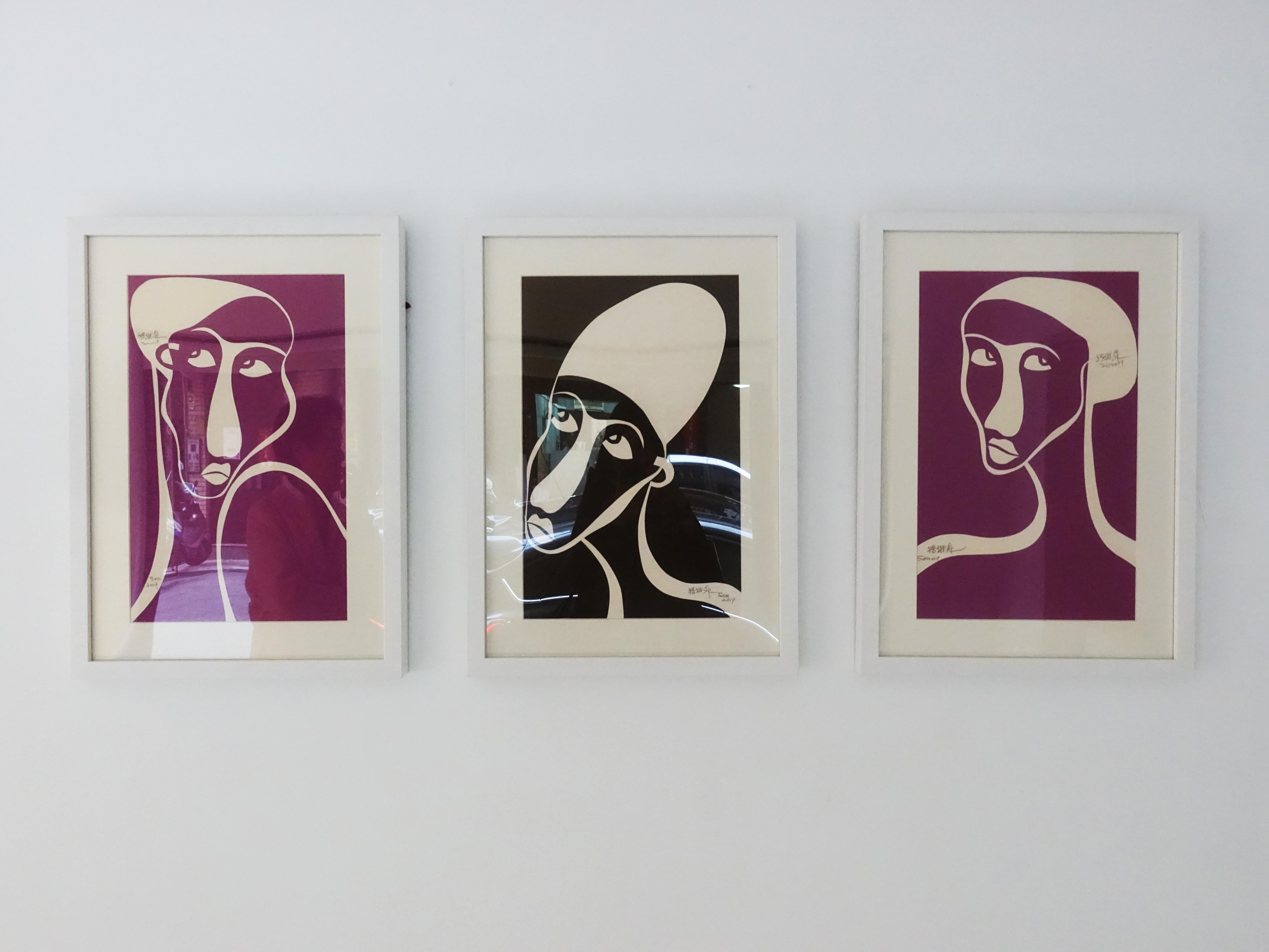 藝術家楊樹森紙板刻畫系列作品。