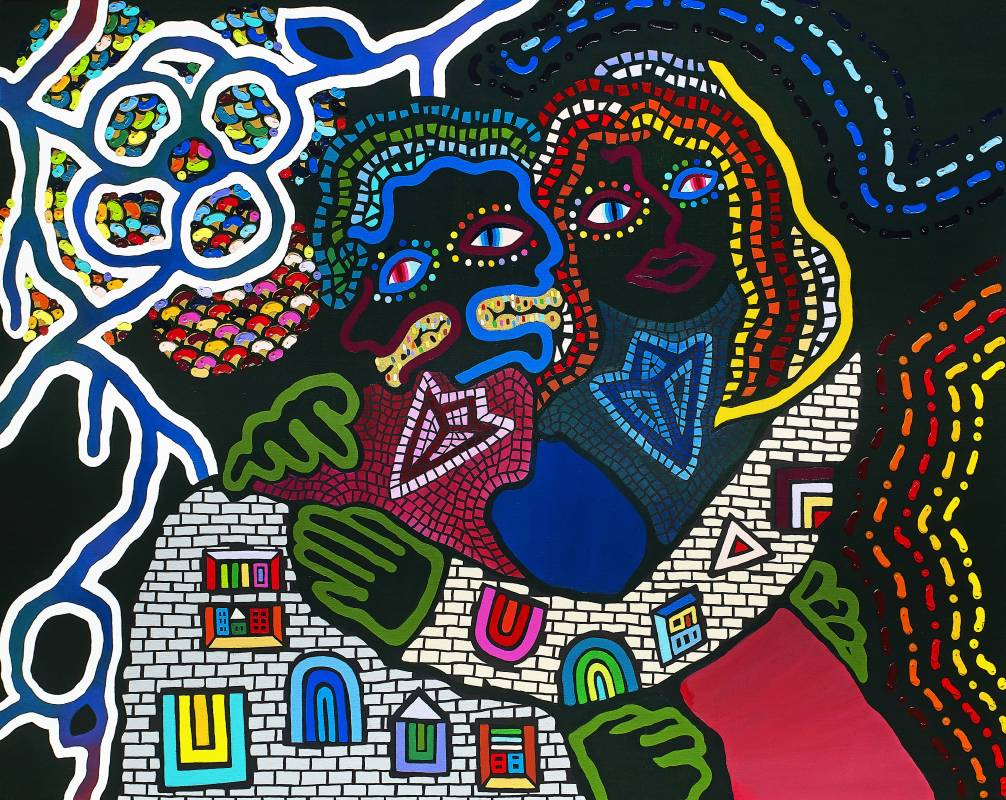 神木佐知子 Sachiko KAMIKI, 孕育愛戀 Love begets love, 2019, 壓克力畫布 Acrylic on canvas, 91.0×116.7 cm