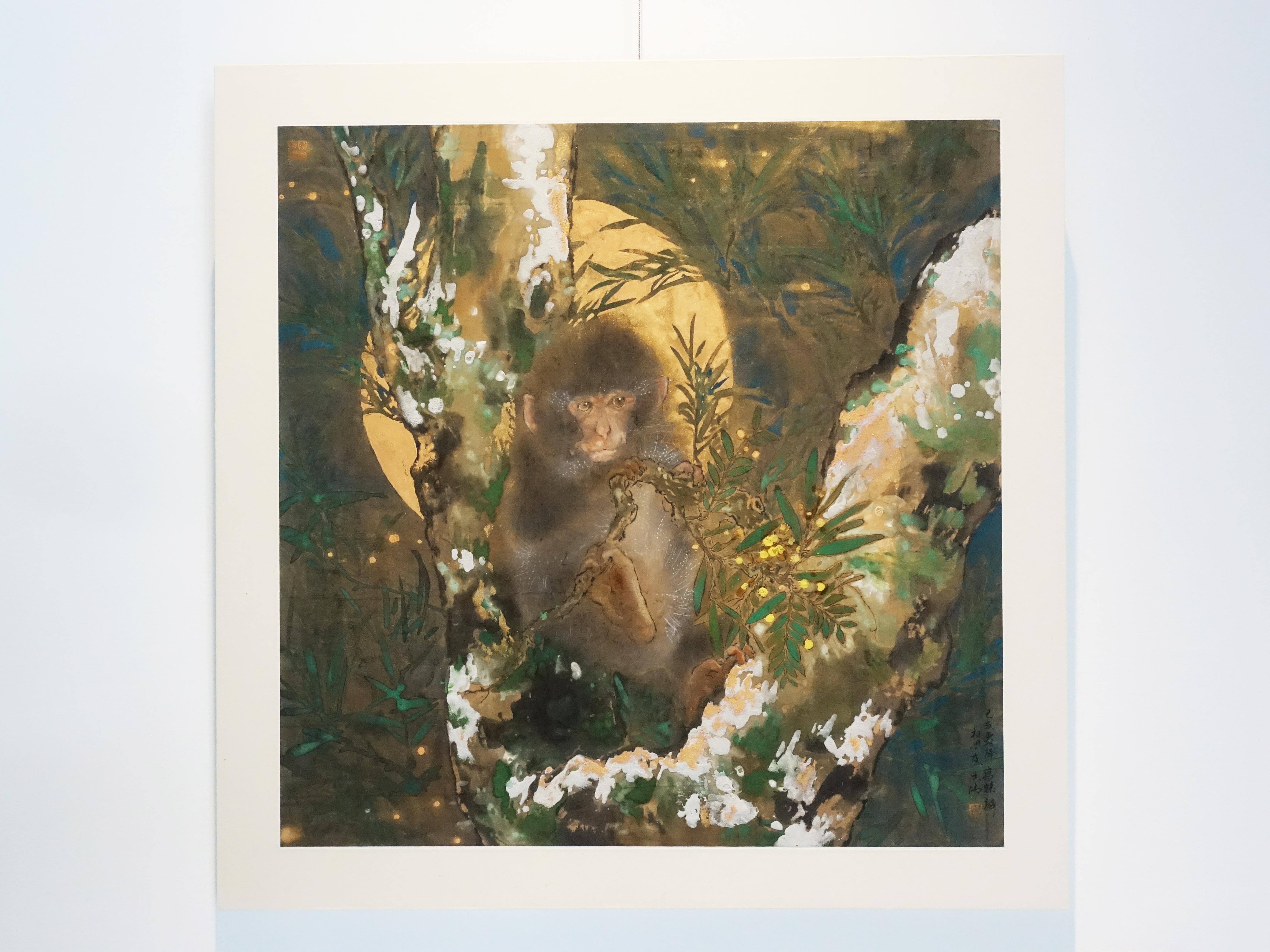 方志偉,《相思夜猿》,57 x 57 cm,絹本設色,2019。