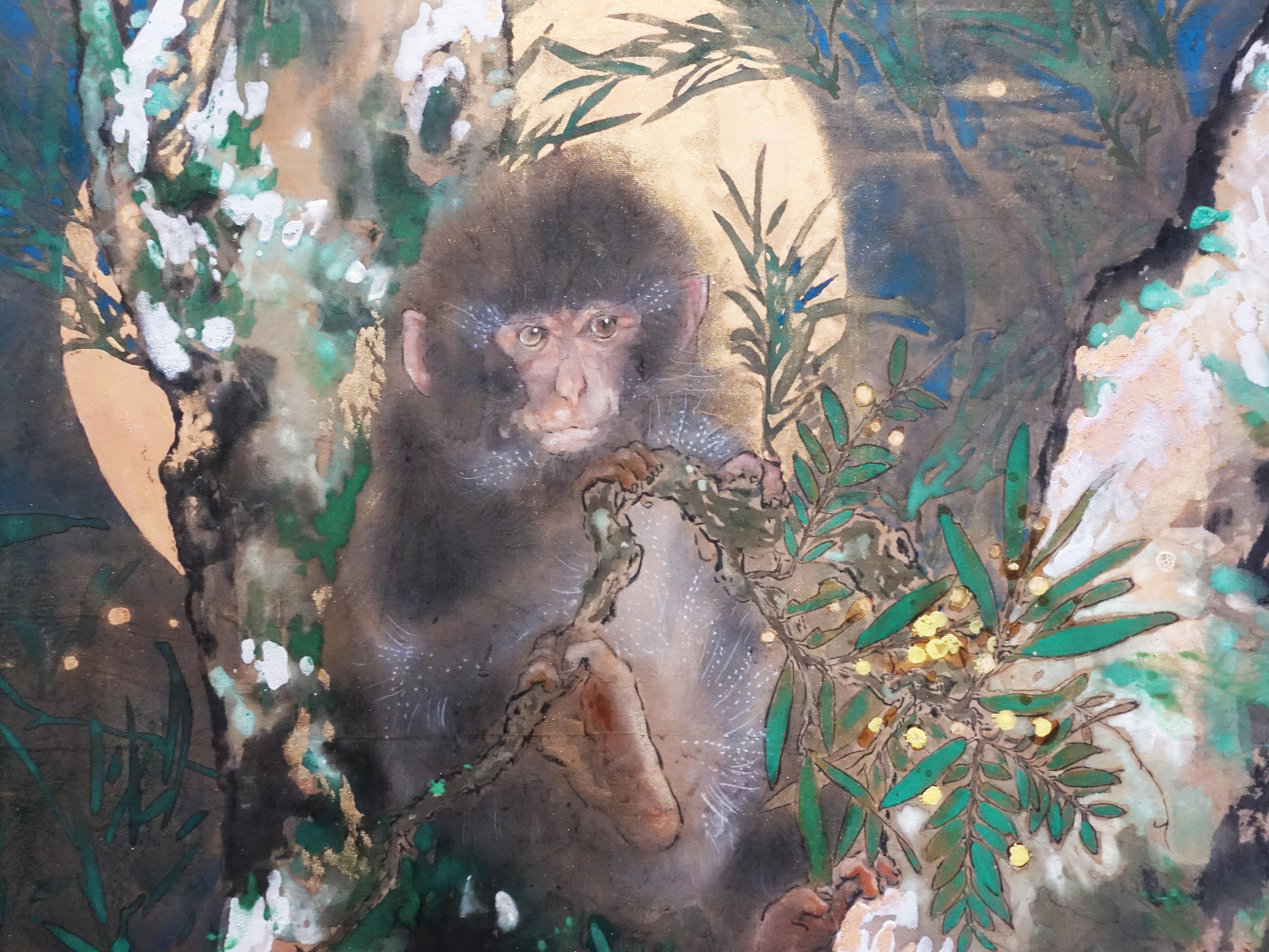 方志偉,《相思夜猿》細節,57 x 57 cm,絹本設色,2019。