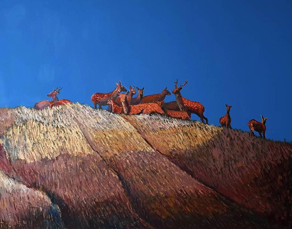曹松清  鹿群  2020   91×116.5cm   油彩、壓克力、畫布