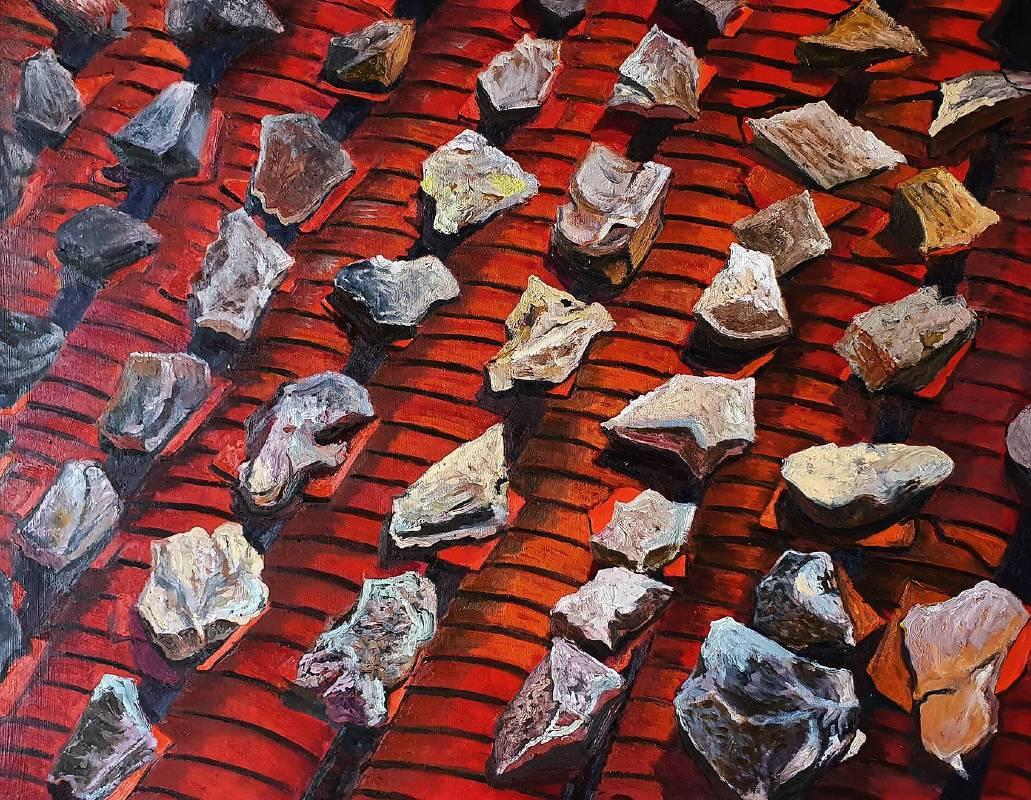 曹松清  壓瓦石   2020  91×116.5cm  油彩、壓克力、畫布