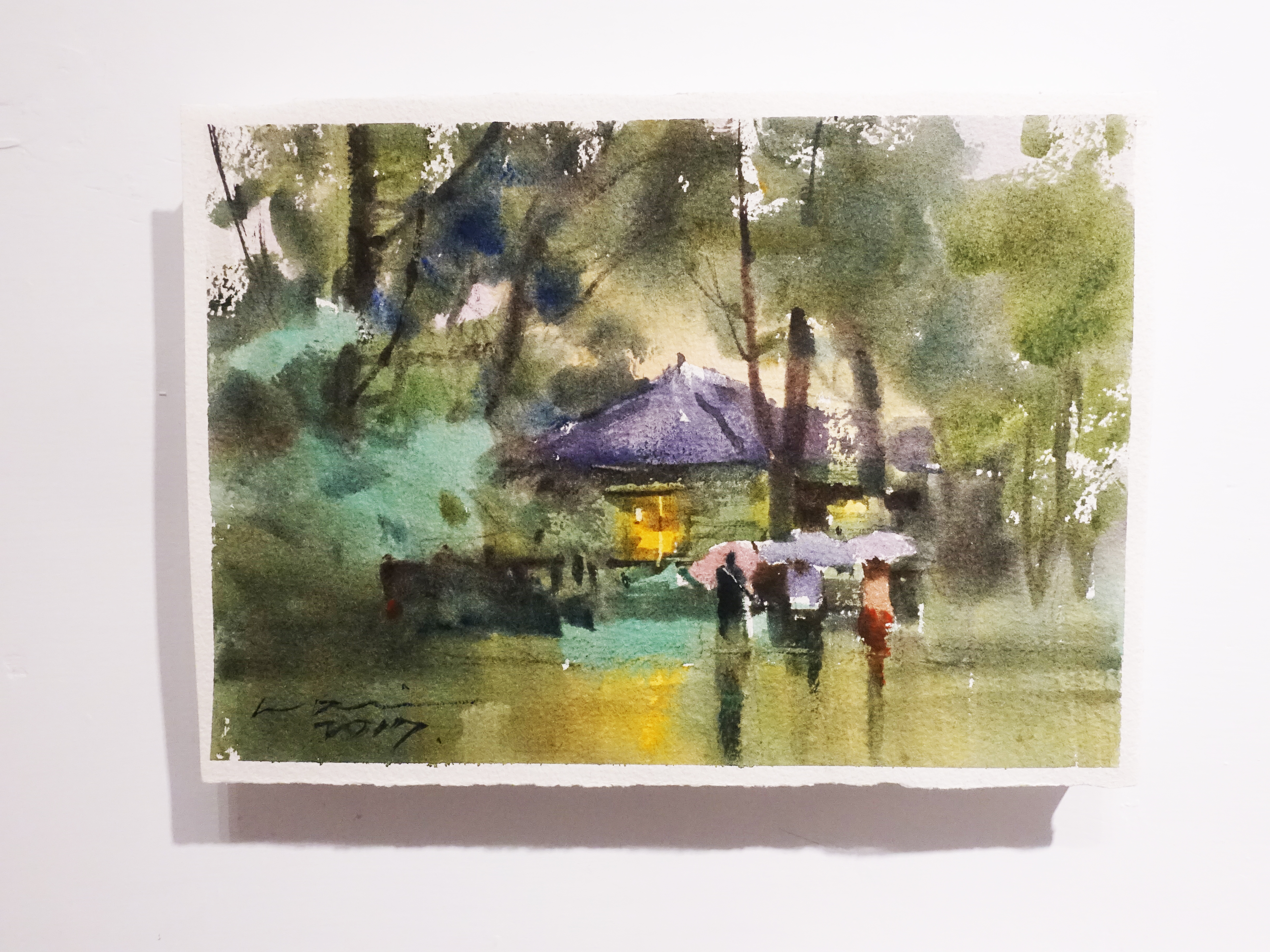 楊治瑋,《細雨》,19 x 27 cm,水彩,2017。