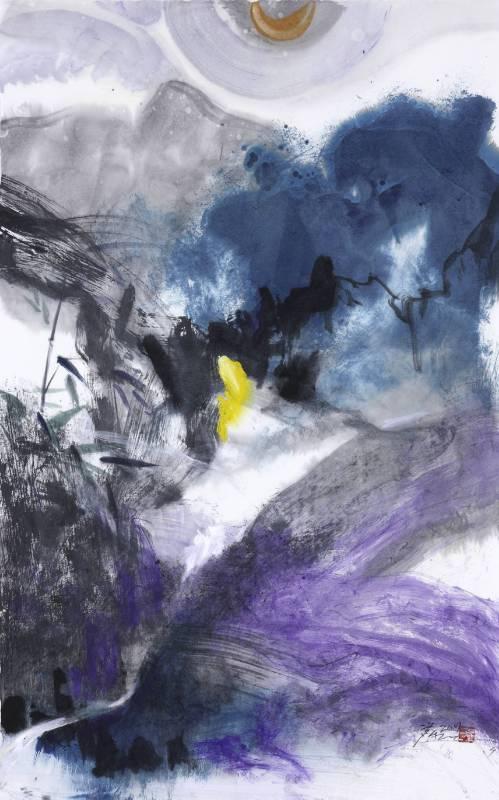塵三 Chen San / 紫竹調 Purple Bamboos 紙上彩墨 Colored ink on Paper 75x47 cm 2019