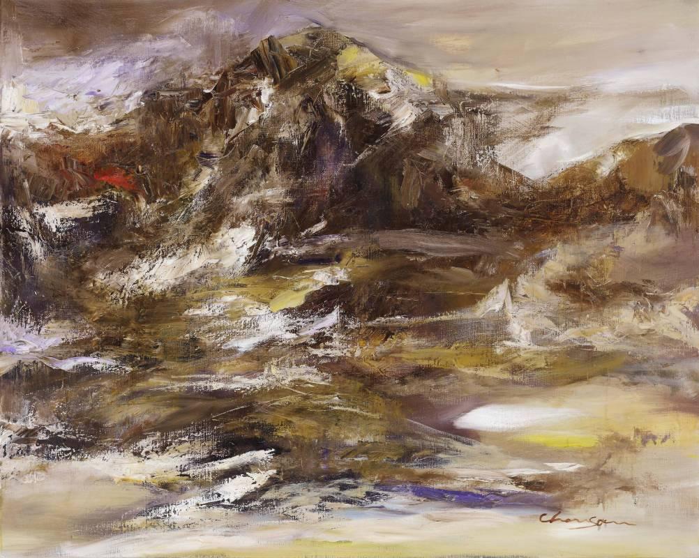 塵三 Chen San / 曉礹 Mountains at Dawn  油畫 Oil on canvas  80x100 cm 2020