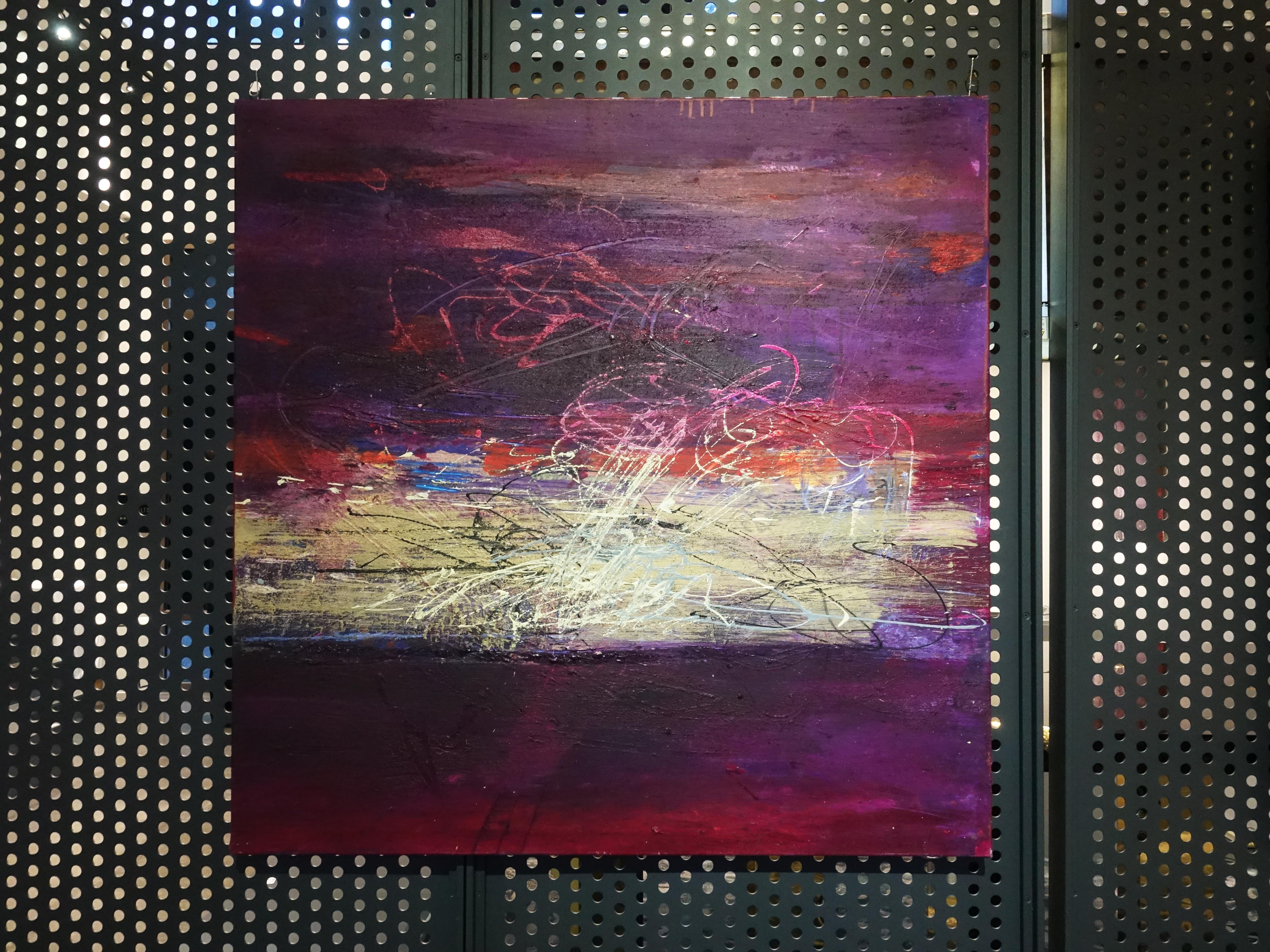 Víctor Ramírez,《Víctor Ramírez Encentro en el Horizonte II》,100x100 cm,Acrylic on Canvas,2017。