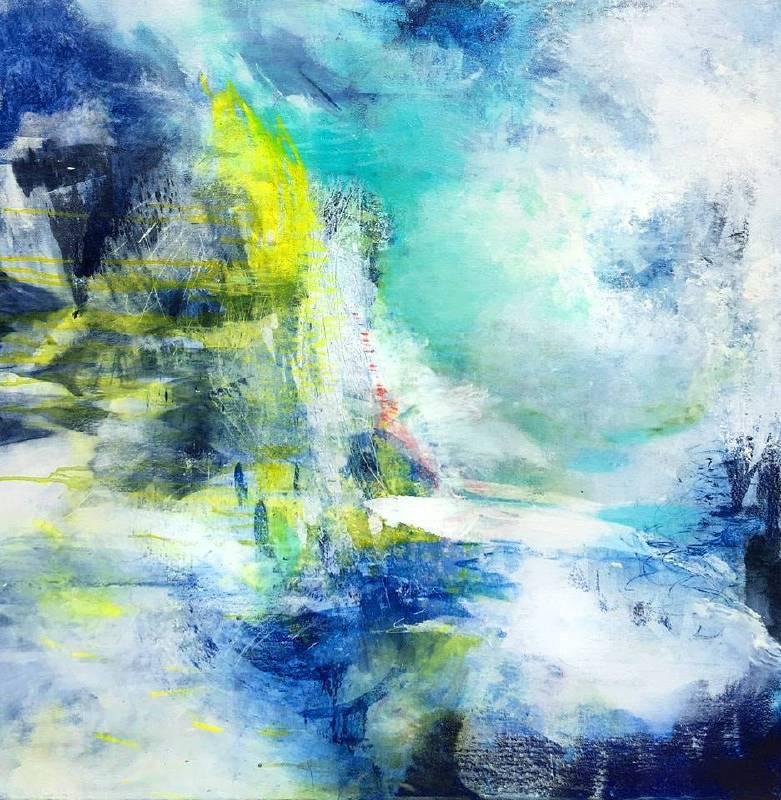 陳嘉慧 天在山之外 Sherry Chen 陳嘉慧 Beyond _Acrylic and enamel on canvas, 壓克力 琺瑯 畫布 _ 91cm x 91cm 2019