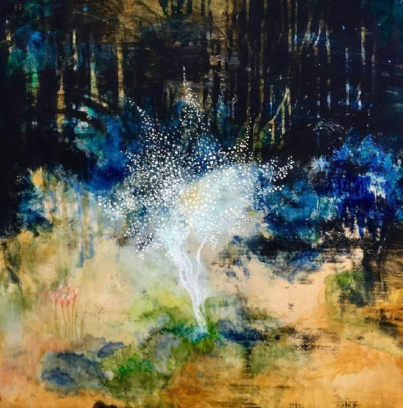 Sherry Chen 陳嘉慧 Elfin Dance 精靈之舞  Acrylic and enamel on wood panel, 壓克力 琺瑯 木板  61 x 61cm 2019