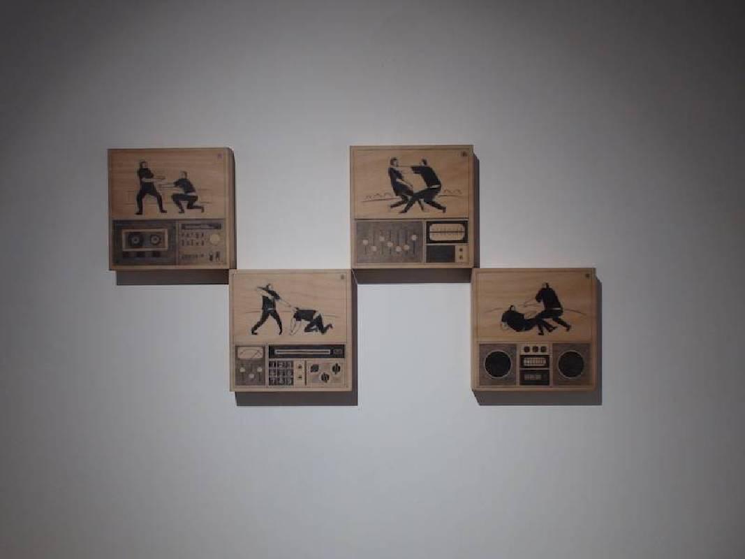 黃照達, 跳舞現場直播, 鉛筆木板 , 15 x 15 cm (set of 4), 2020