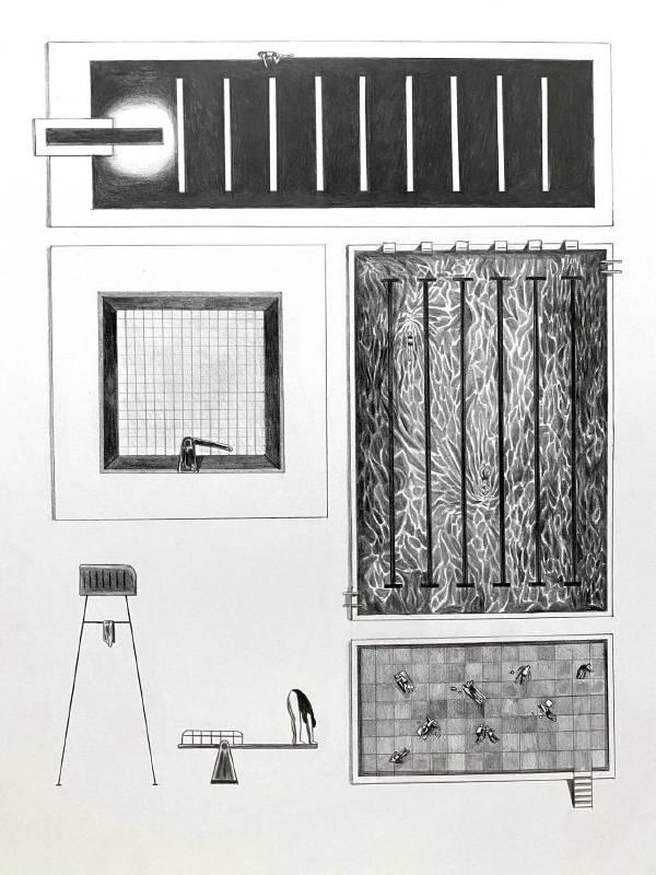 黃照達, 泳池, 鉛筆紙本 , 50 x 70 cm, 2020