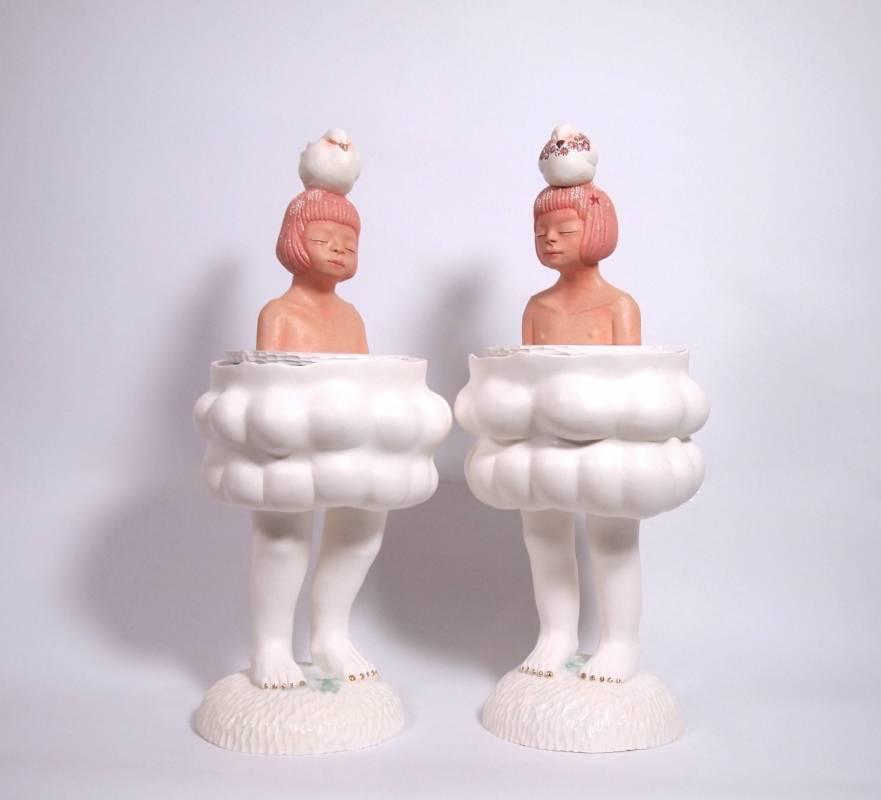 楊宗嘉 / 浮冰孤島 I & II / 陶瓷、硼砂、釉上彩、釉下彩、釉 / 23x22x53 cm each  / 2020