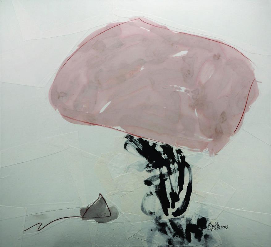楊世芝  ⟪從一塊粉紅飛起⟫ 2013 墨、天然礦物顏料、棉紙拼貼於麻布 110x120cm