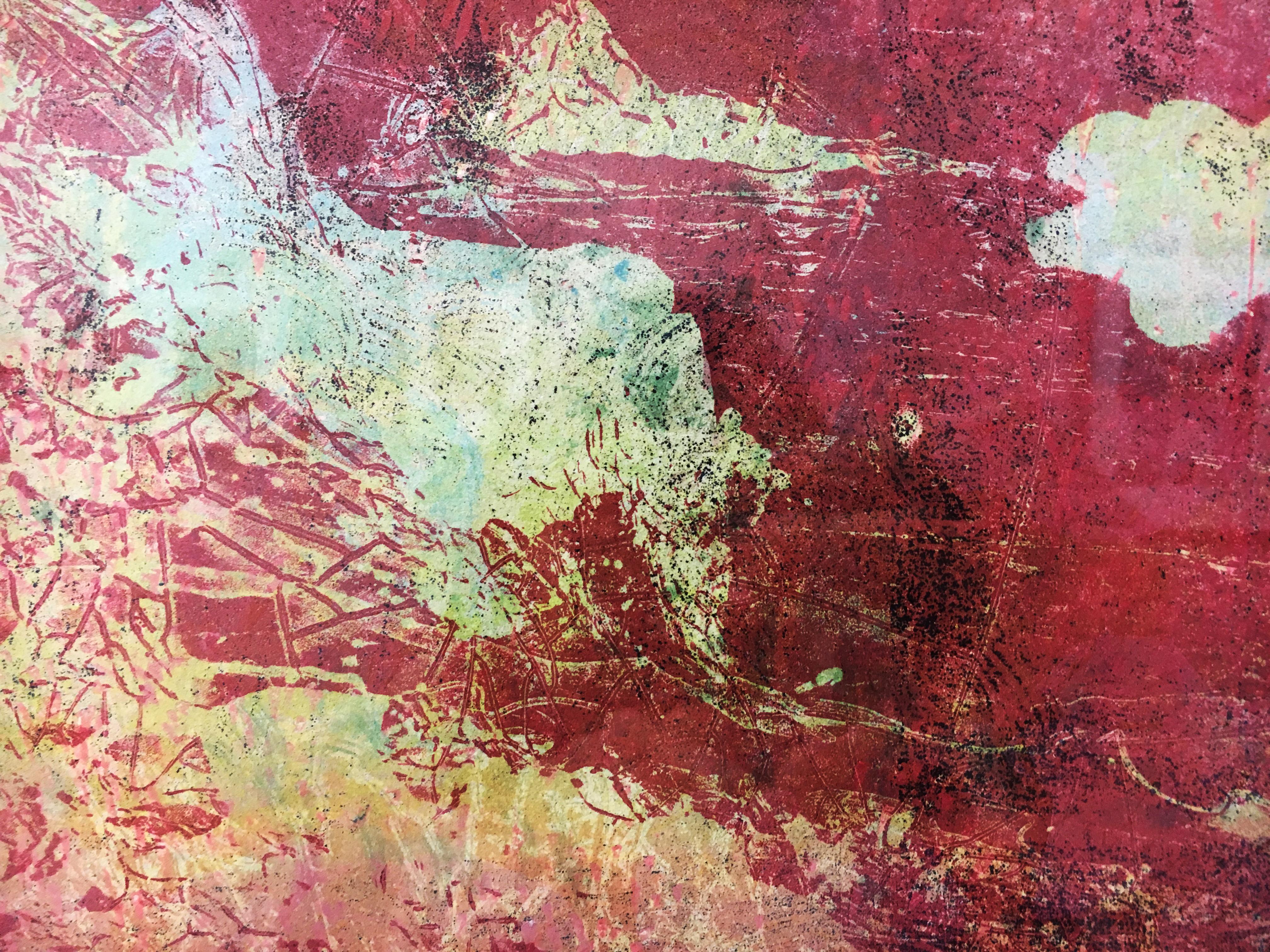 賴振輝,《紅岩(三)》細節,版畫(木刻絹印),2019。