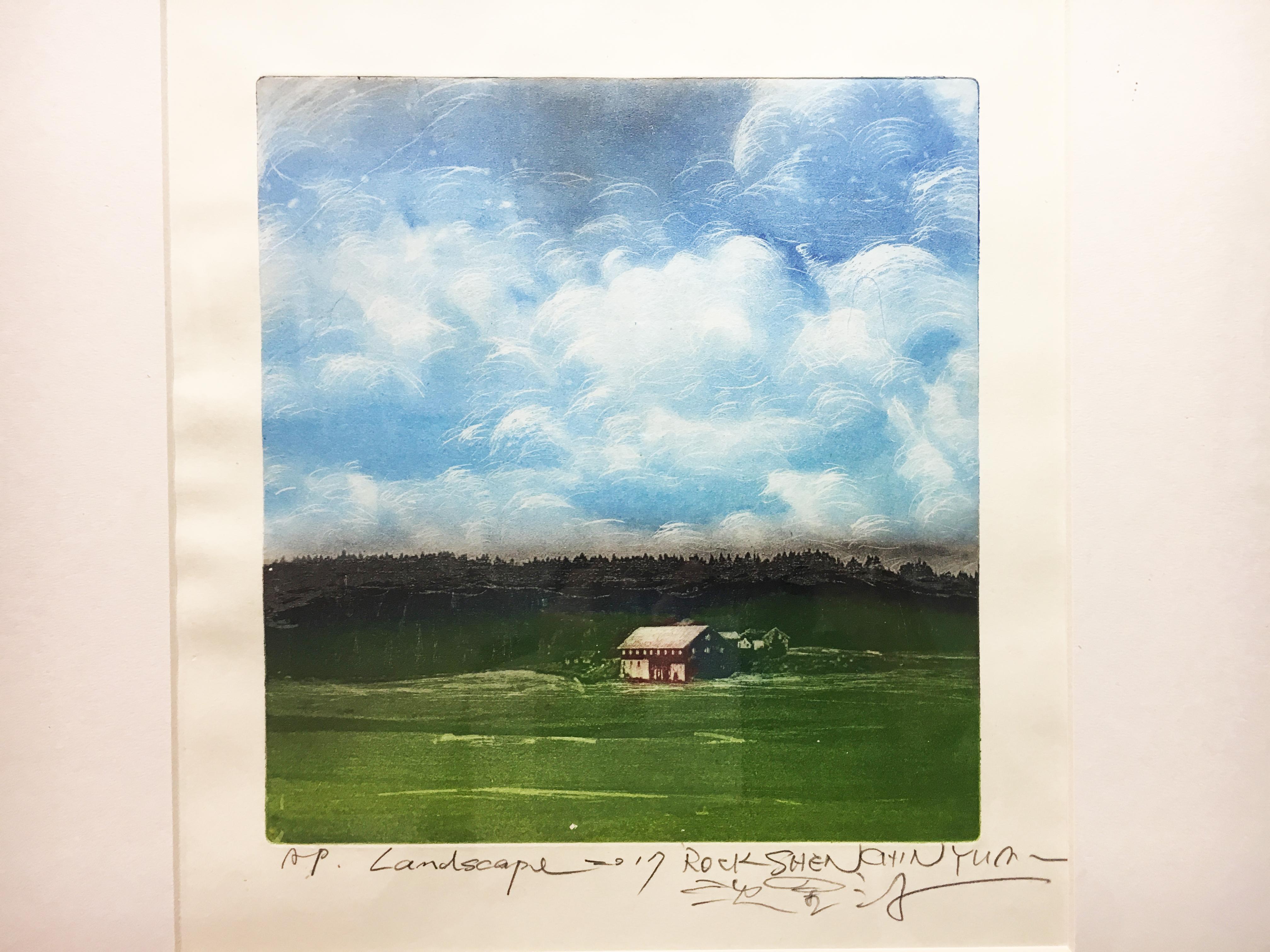 沈金源,《Landscape》細節,版畫(凹版),2017。