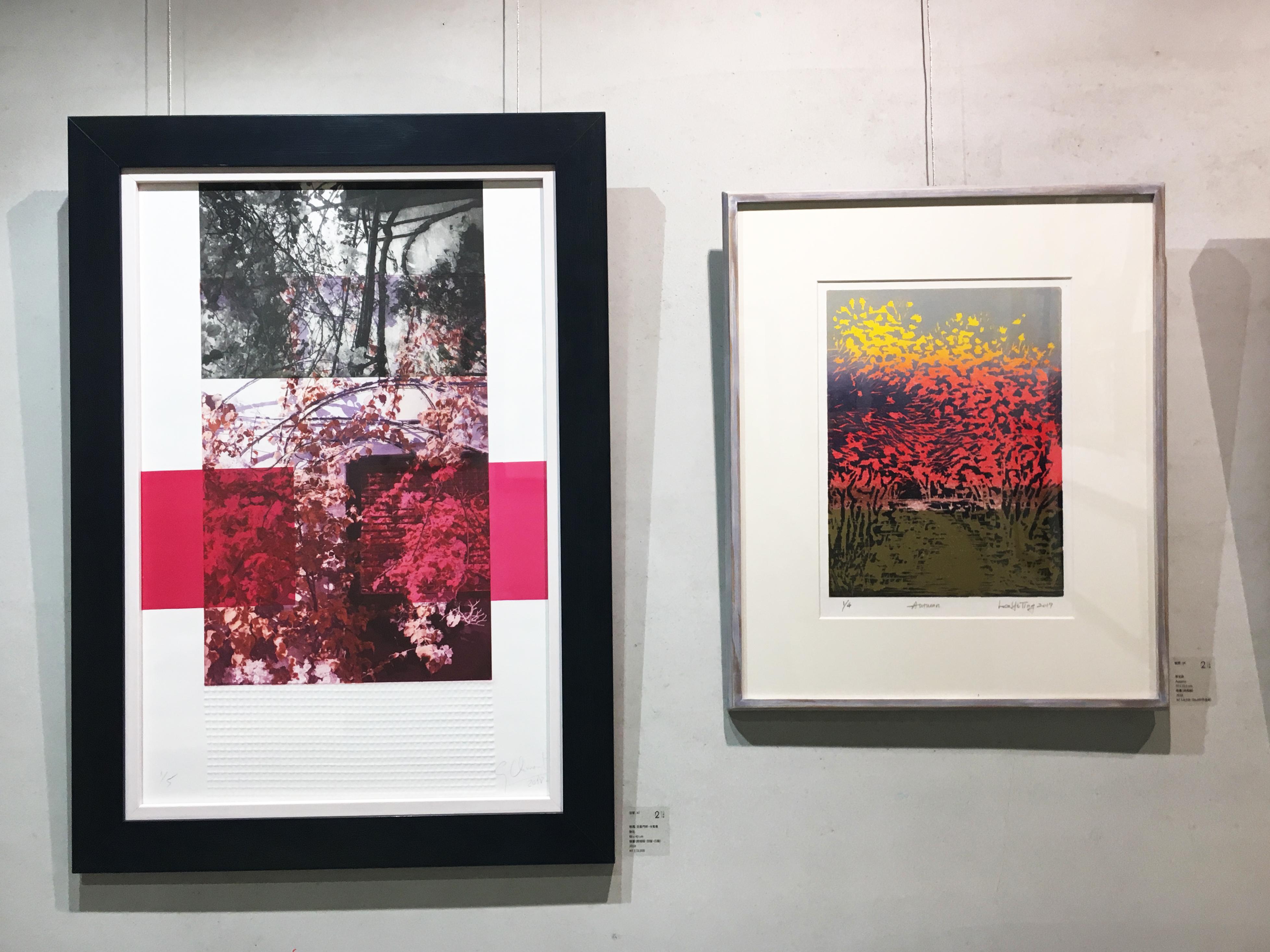 二空間展出西班牙藝術家格瑪.克里門特.卡馬喬(左)以及臺灣藝術家李宜庭(右)版畫作品。