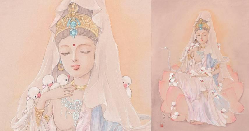 日本漫畫家花村榮子筆下的〈白衣觀音〉,讓人沐浴在觀音慈悲的光芒中,十分療癒。(圖由世界宗教博物館提供)
