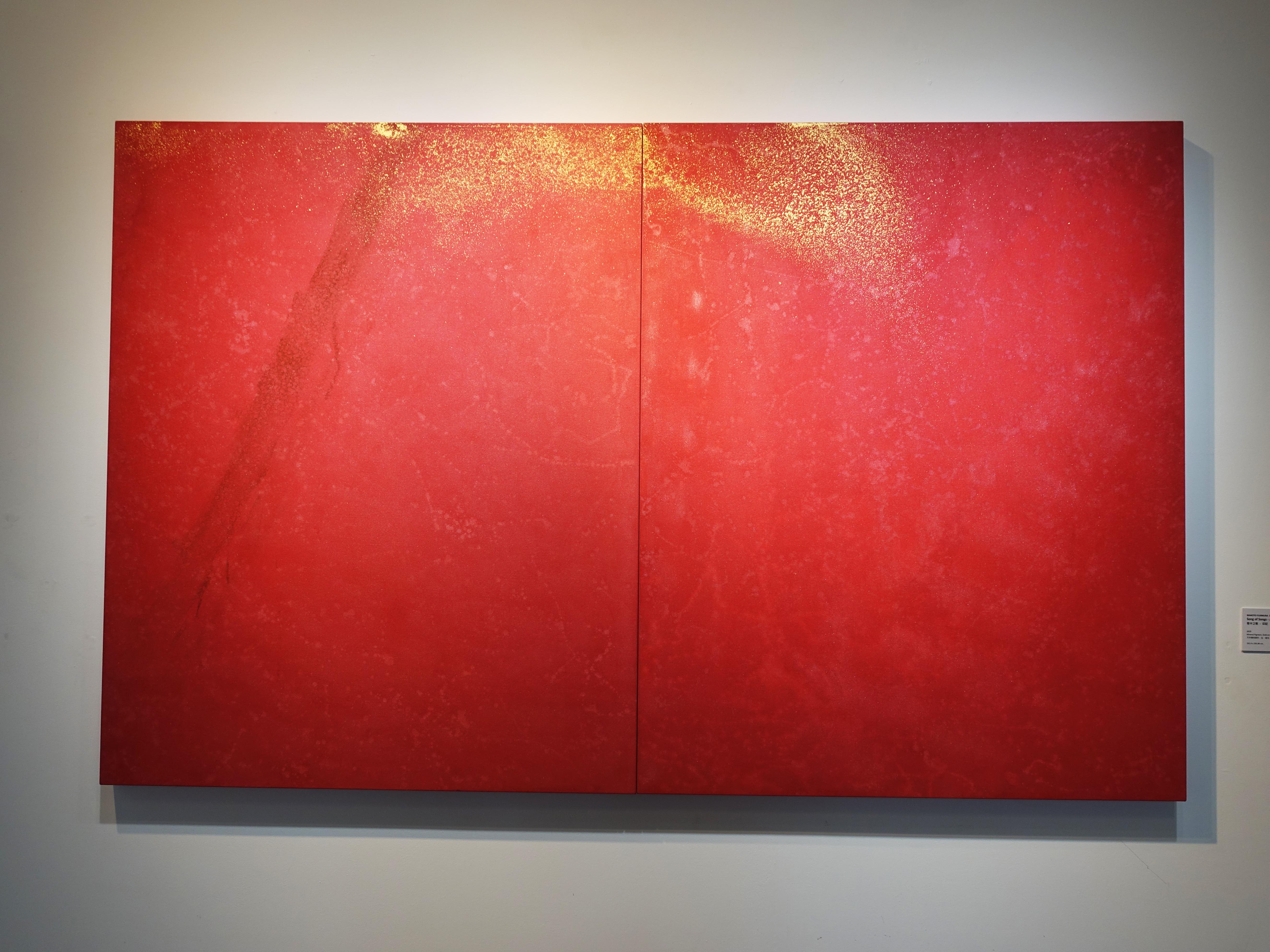 Makoto Fujimura,《Silence & Beauty - Cascade》,152.4 x 121.92 cm,天然礦物顏料、金、畫布,2018。
