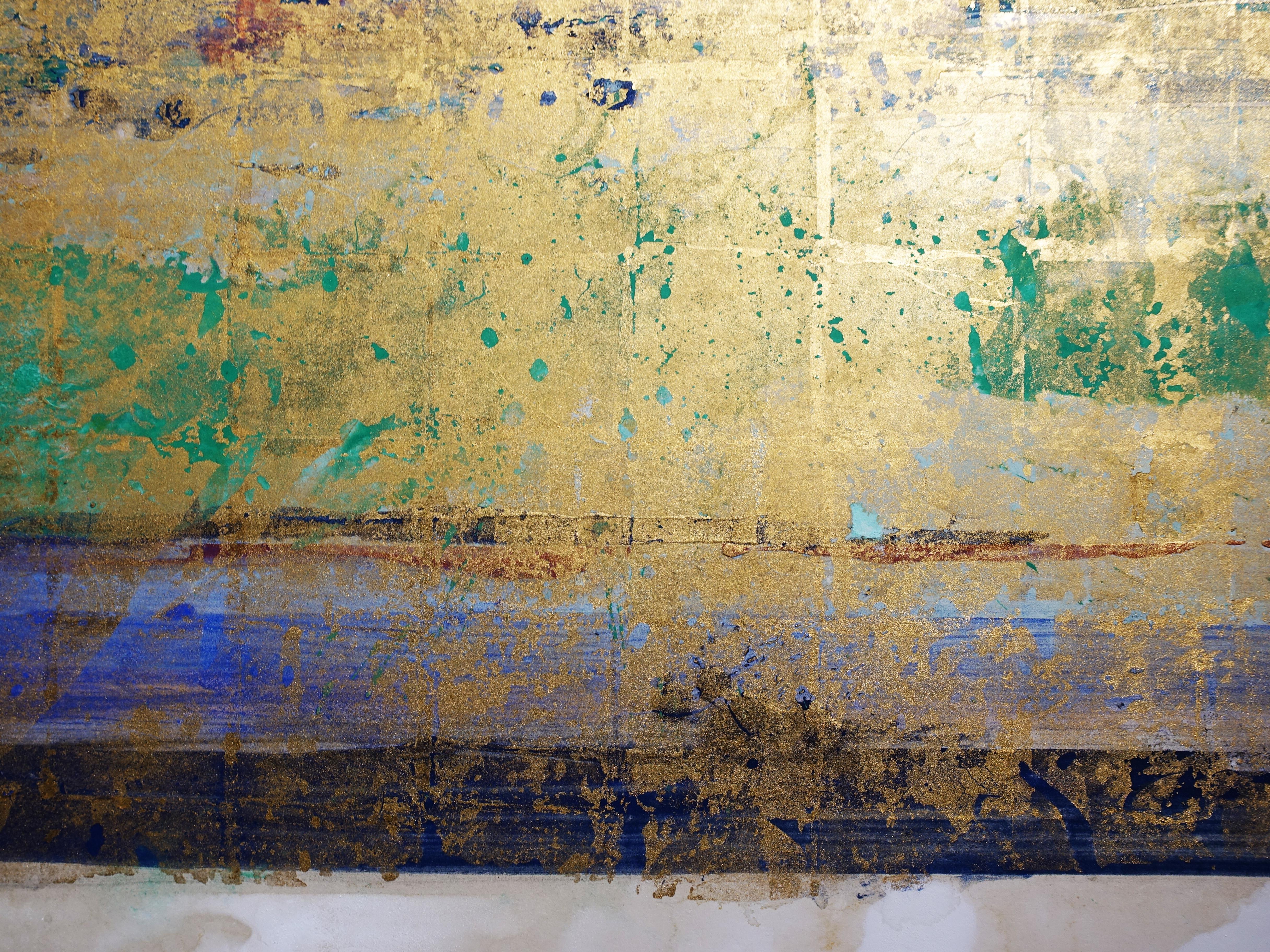 Makoto Fujimura,《Golden Sea - Glaciers》細節,127 x 91.44 cm,天然礦物顏料、牡蠣殼、金、雲肌紙,2019。