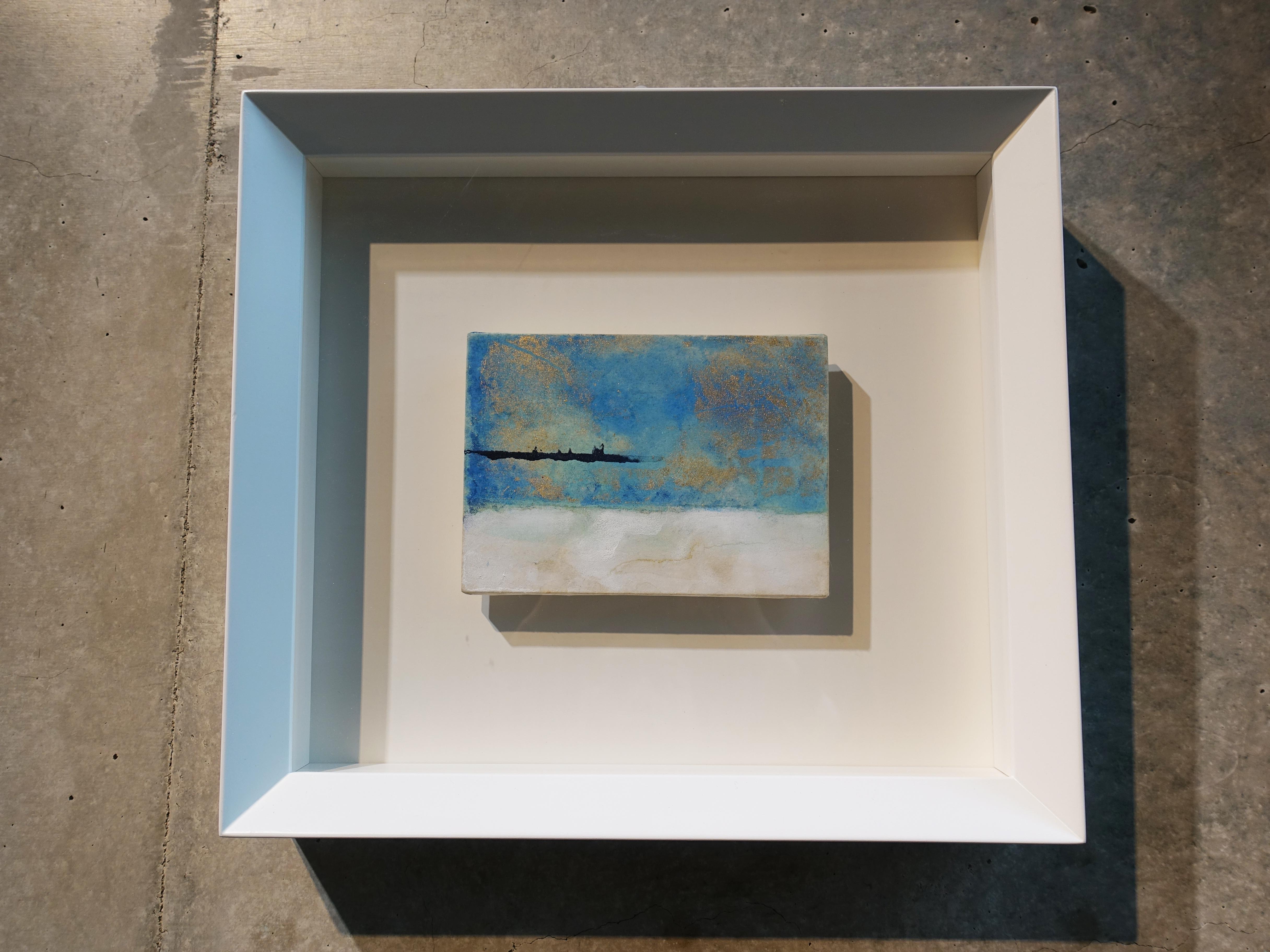 Makoto Fujimura,《無題-1》,13 x 18 cm,天然礦物顏料、金、雲肌紙,2017。