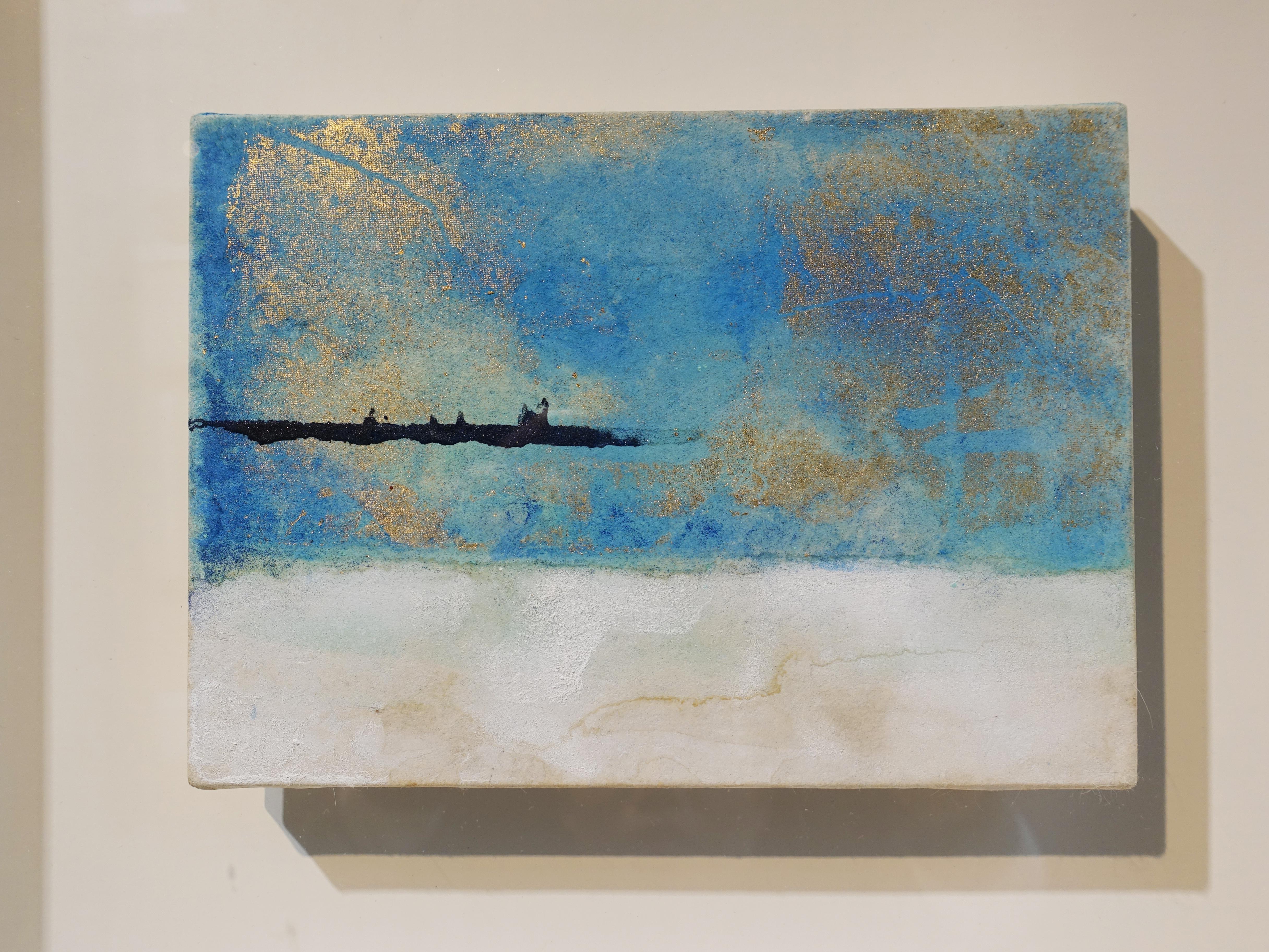 Makoto Fujimura,《無題-1》細節,13 x 18 cm,天然礦物顏料、金、雲肌紙,2017。