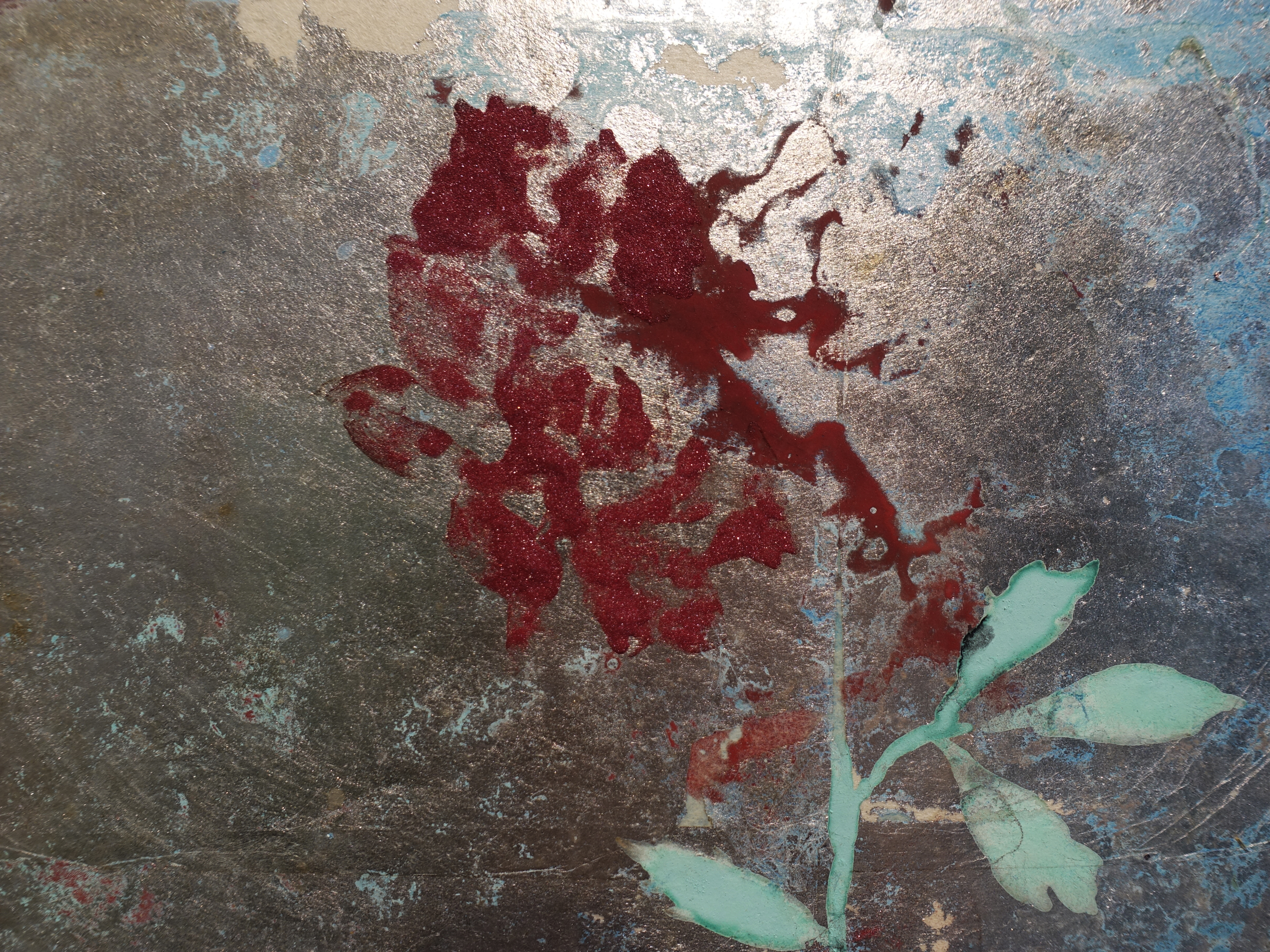Makoto Fujimura,《Silver Rose》細節,25.5 x 20.5 cm,天然礦物顏料、銀、雲肌紙,2016。