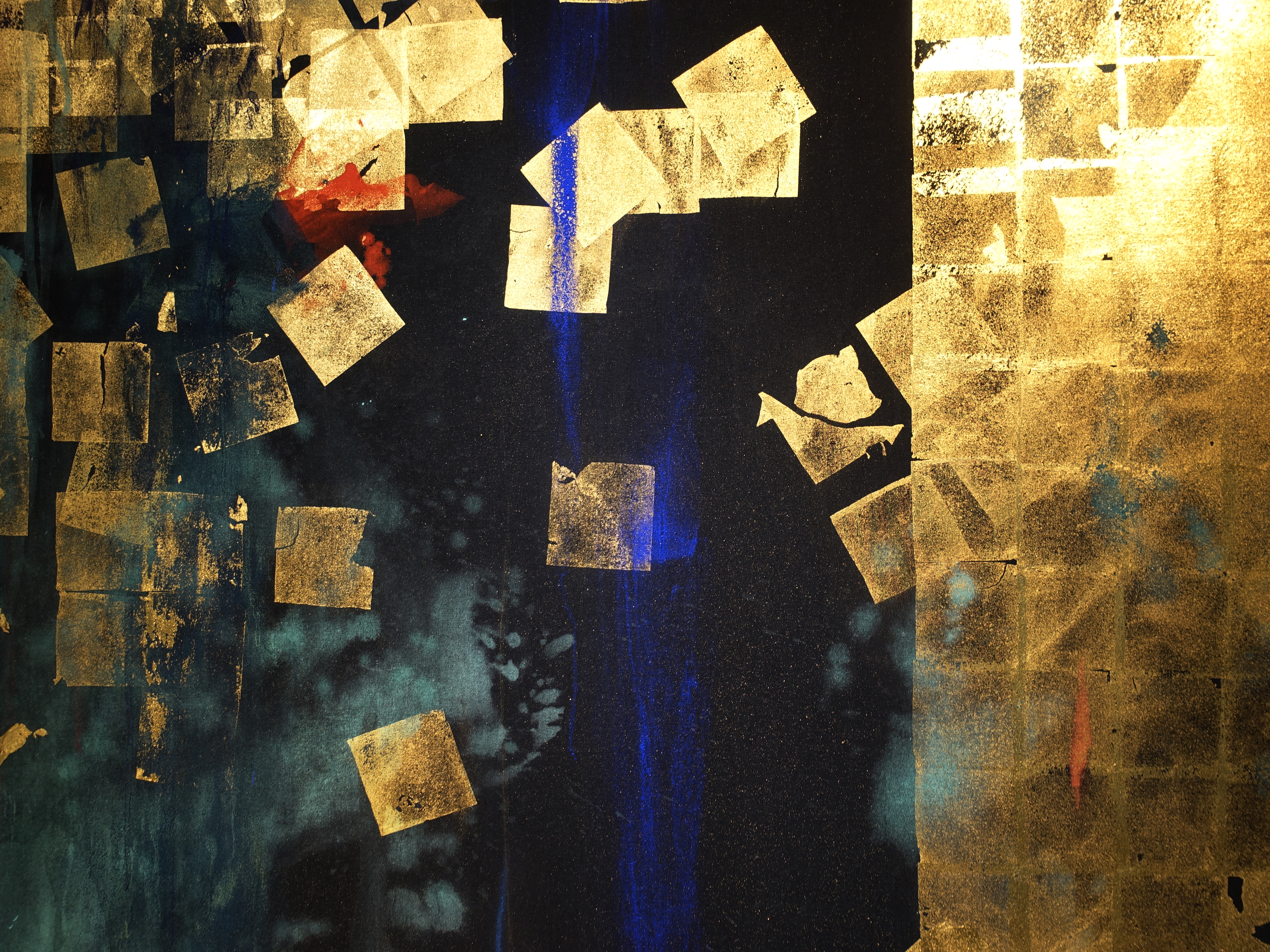 Makoto Fujimura,《Soliloquies - Joy》細節,203 x 163 cm,天然礦物顏料、金箔、比利時亞麻畫布,2009。