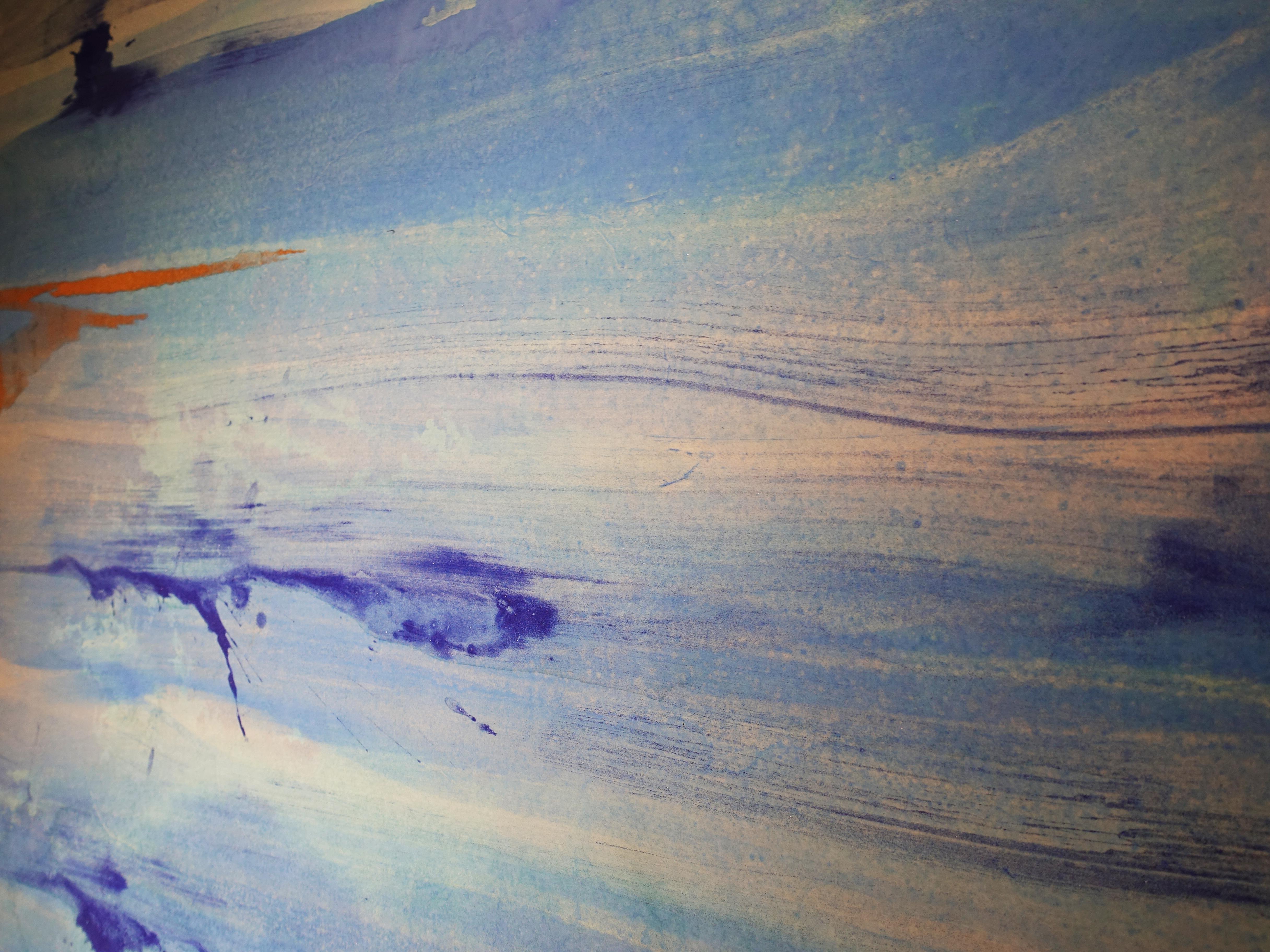 Makoto Fujimura,《January Hour-Nard》細節,137.2 x 94 cm,天然礦物顏料、牡蠣殼、金、雲肌紙,2018。