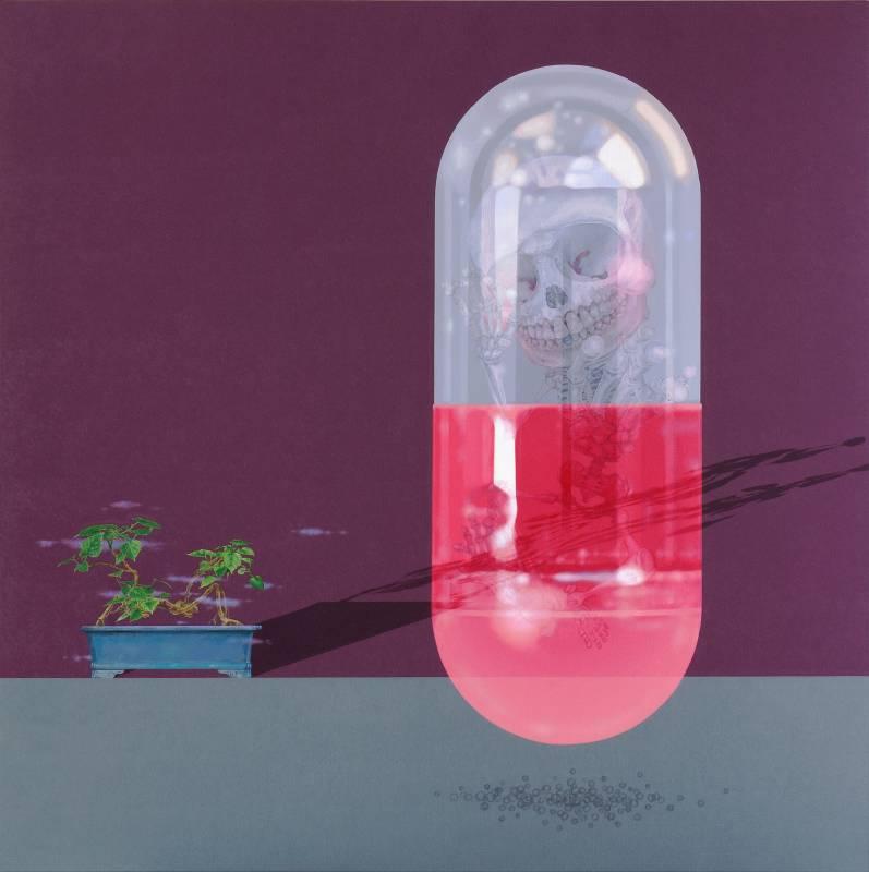 郭淳,骷髏困在膠囊裡/圖片由誠品畫廊提供