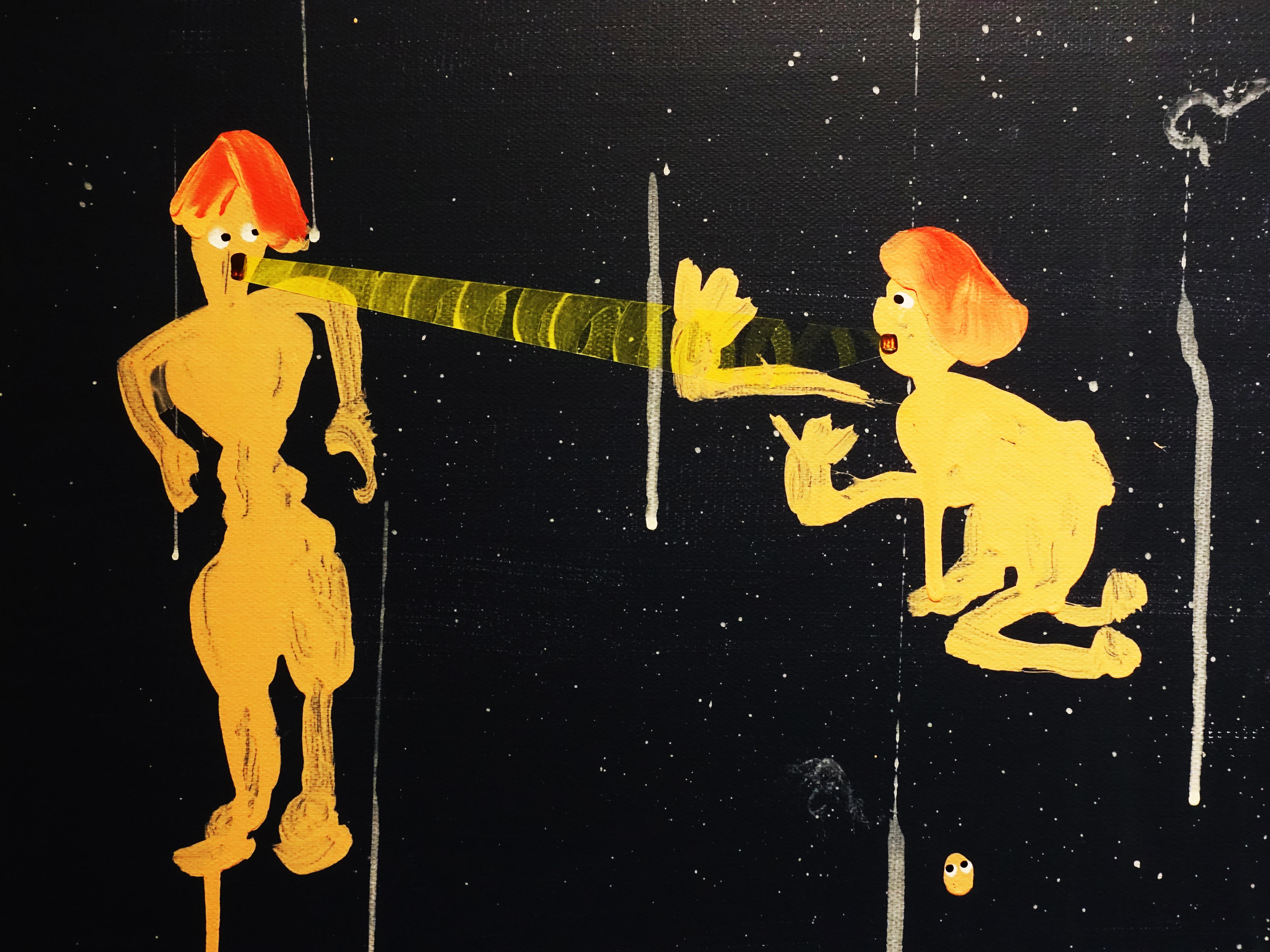 蕭筑方,《你如果真的在乎我》細節,162 x 130cm,壓克力顏料、畫布,2019。