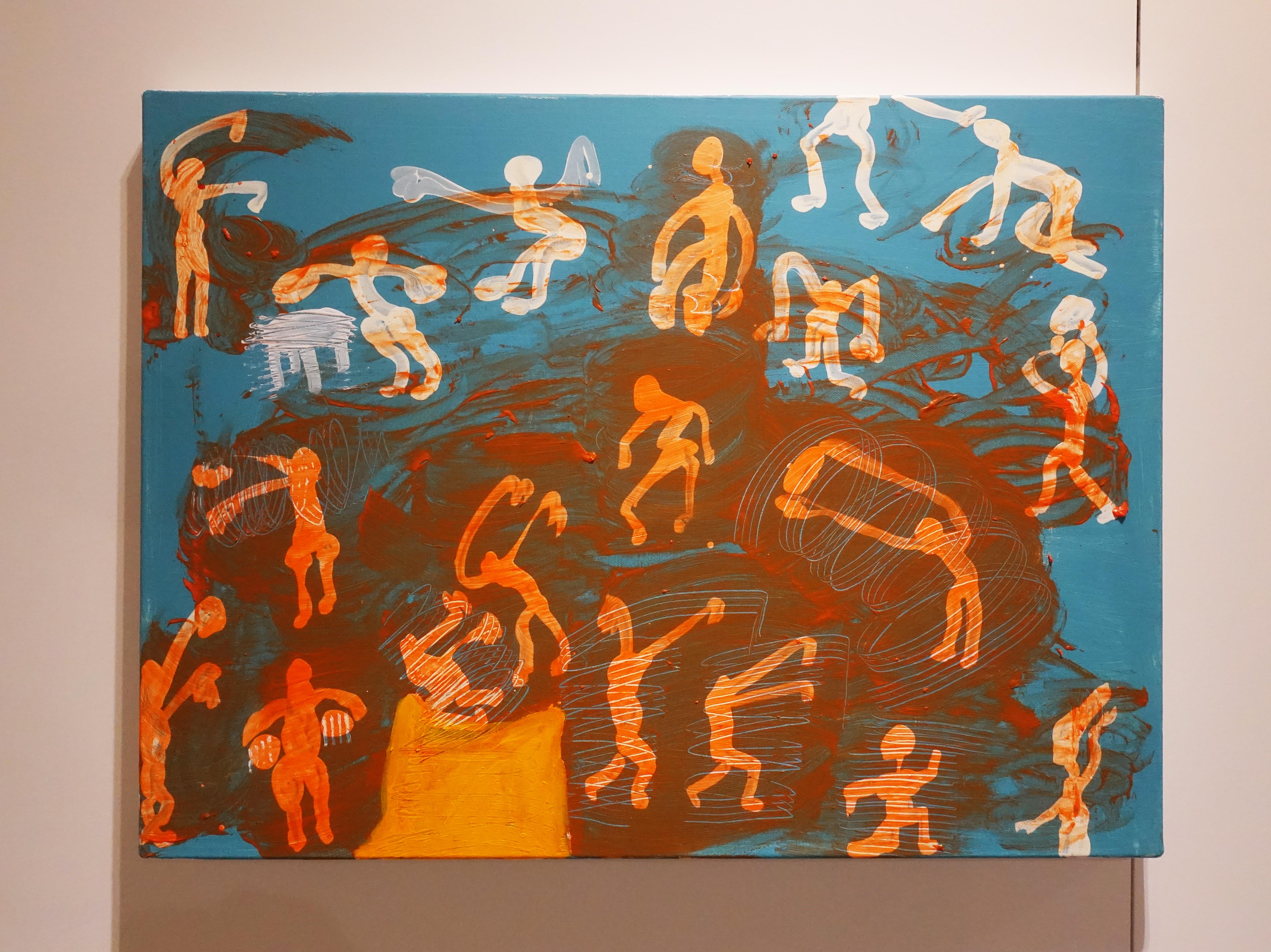 蕭筑方,《有遮羞布的行動》,60 x 80 cm,壓克力顏料、畫布,2019。