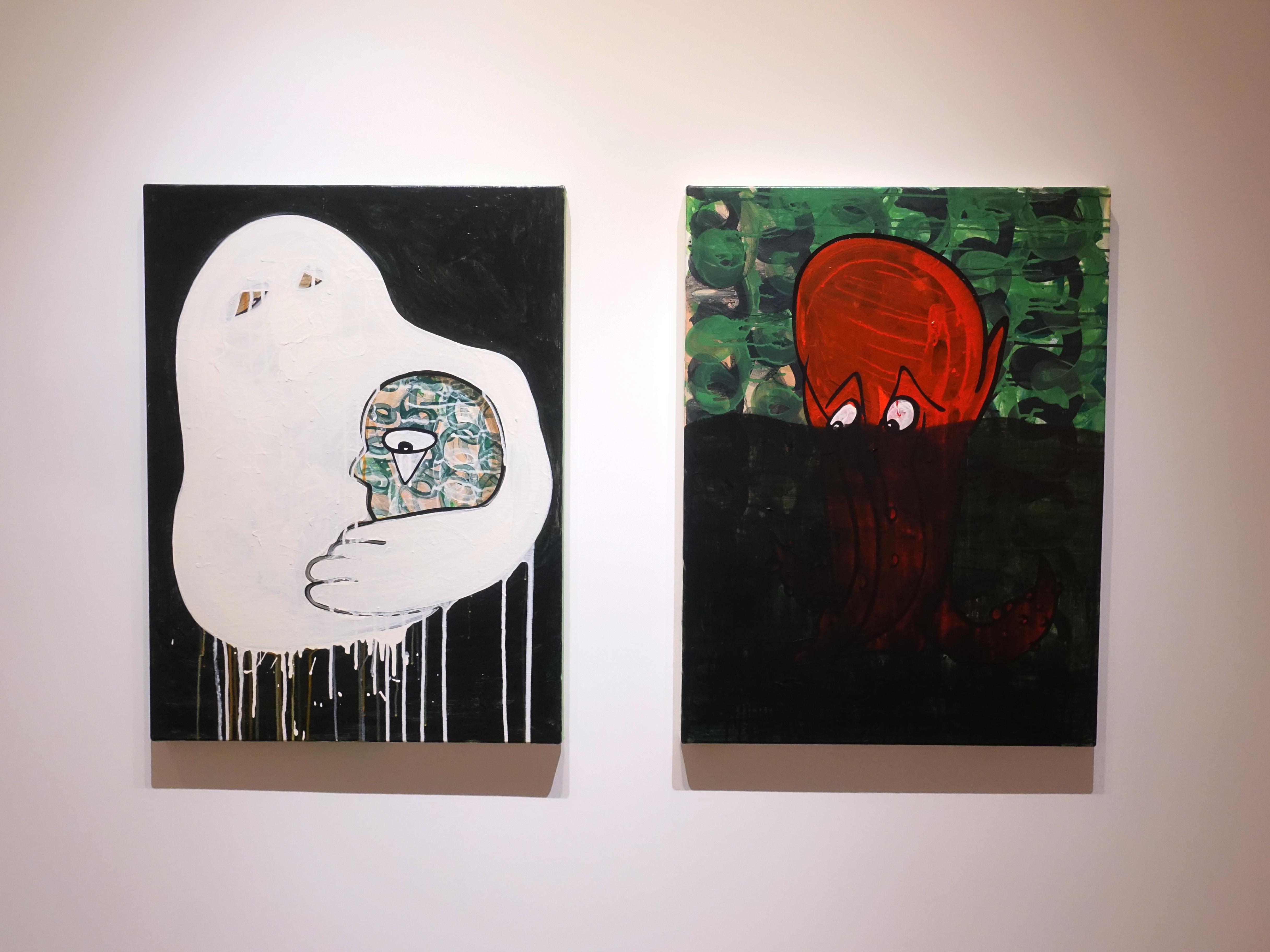 蕭筑方,《墨水浴》,80 x 60 cm,壓克力顏料、畫布,2020 (右)。 《溫暖的雪人》,80 x 60 cm,壓克力顏料、畫布,2020 (左)。
