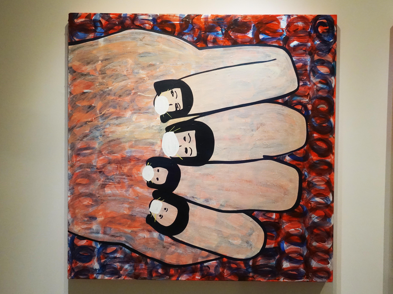 蕭筑方,《吉他手的手》,120 x 120cm,壓克力顏料、畫布,2020。