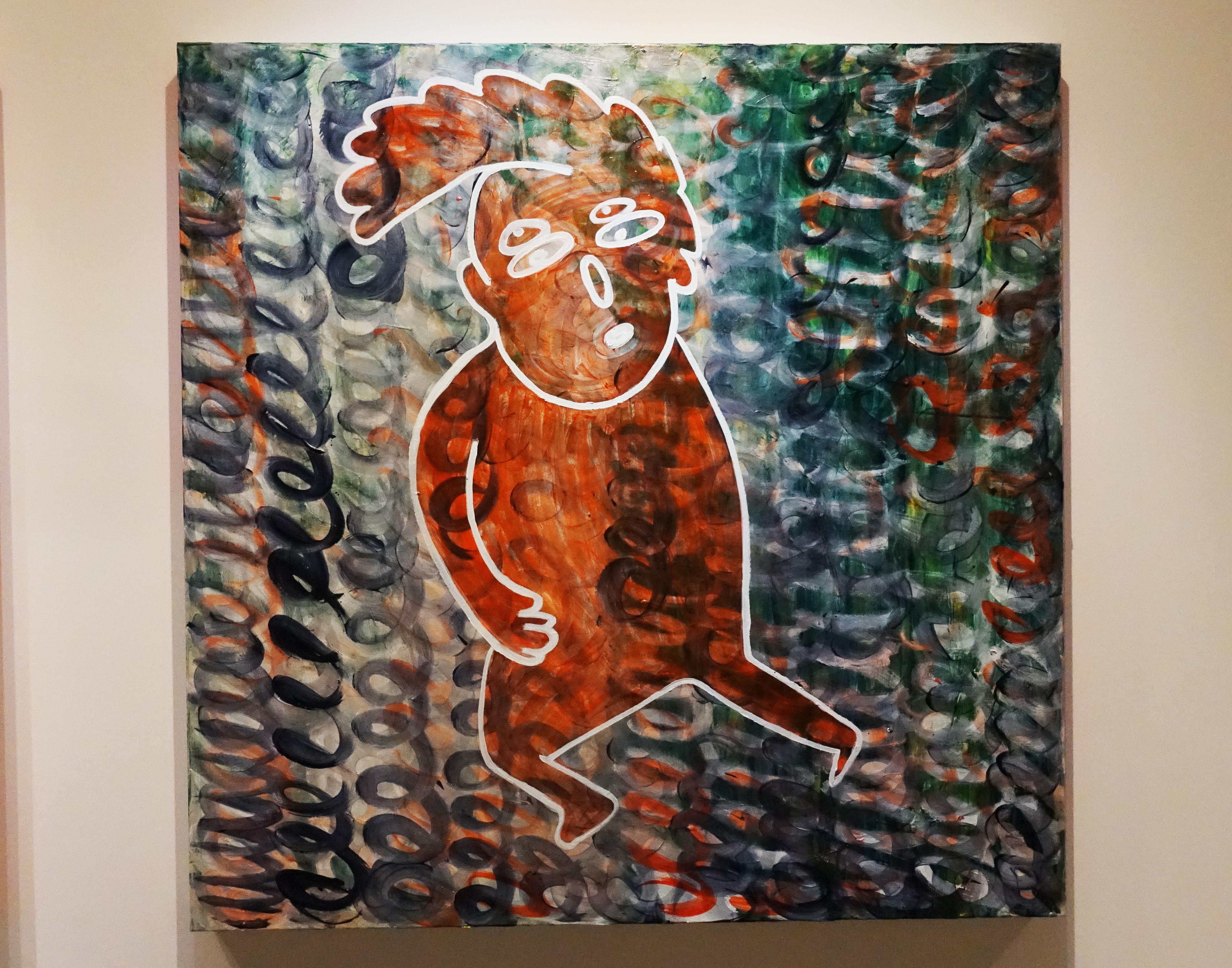 蕭筑方,《空氣吉他手》,120 x 120 cm,壓克力顏料、畫布,2019。