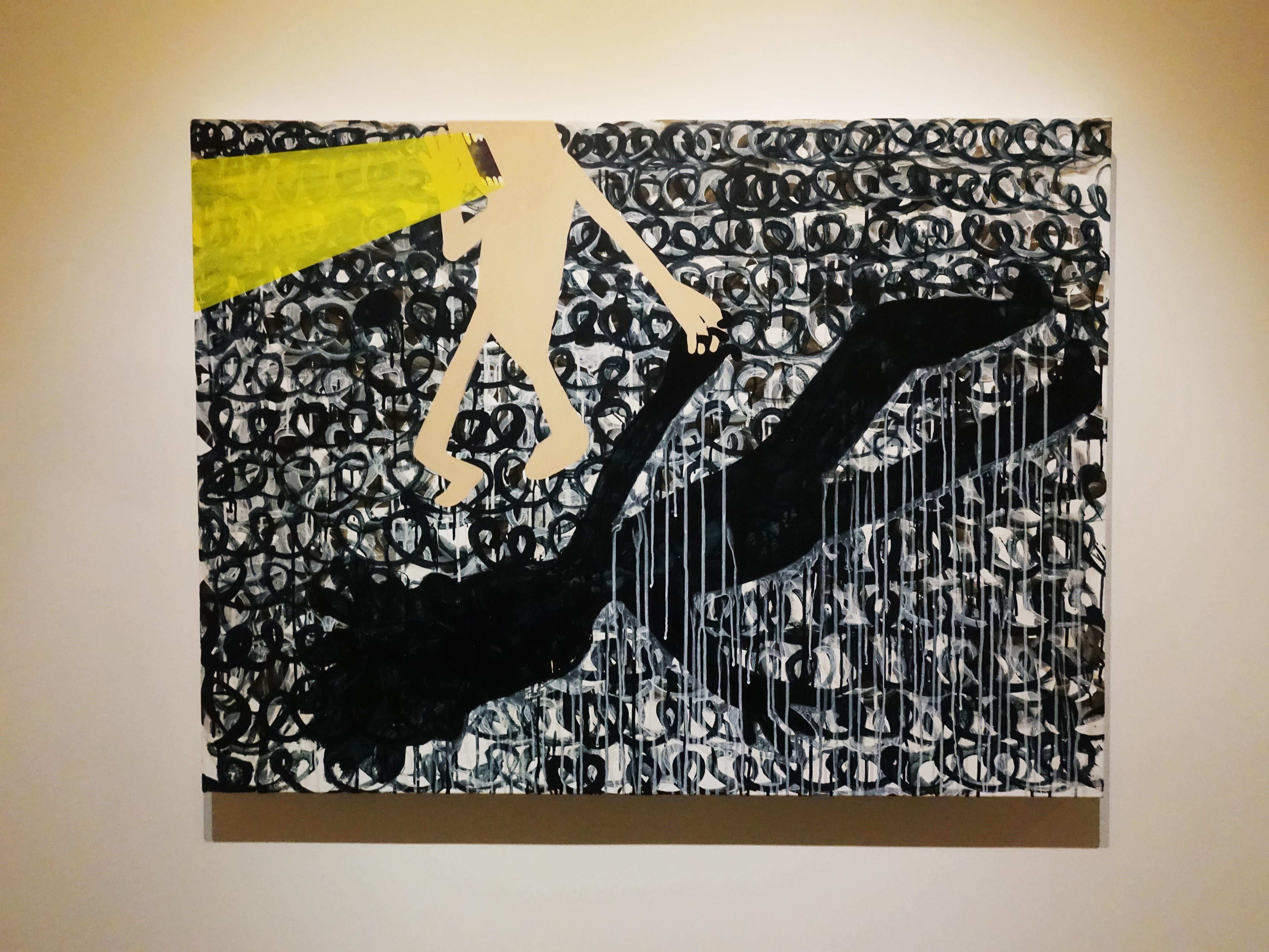 蕭筑方,《車頭燈的吶喊》,97 x 130 cm,壓克力顏料、畫布,2019。