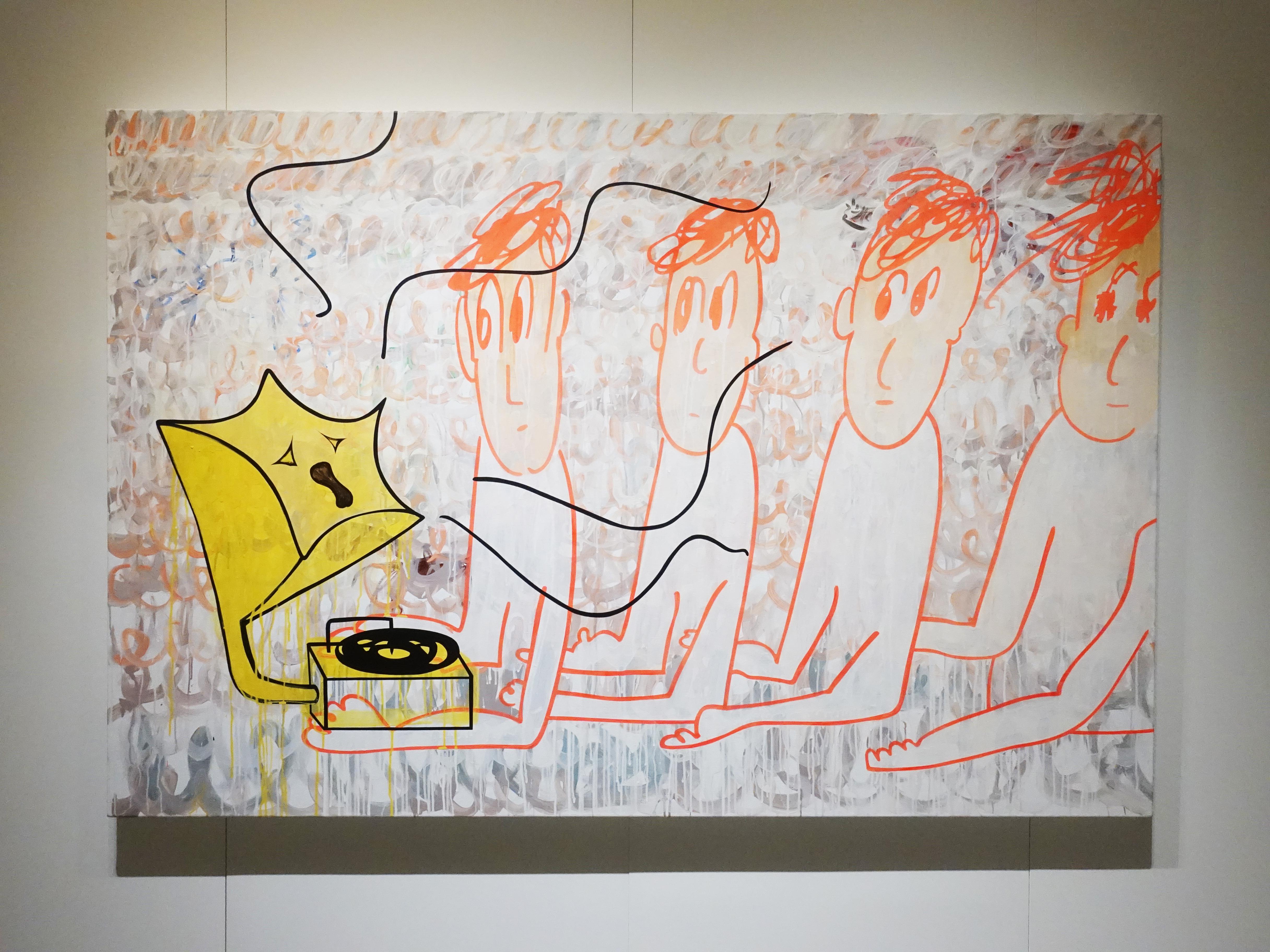 蕭筑方,《你說你想要逃》,130 x 194 cm,壓克力顏料、畫布,2019。